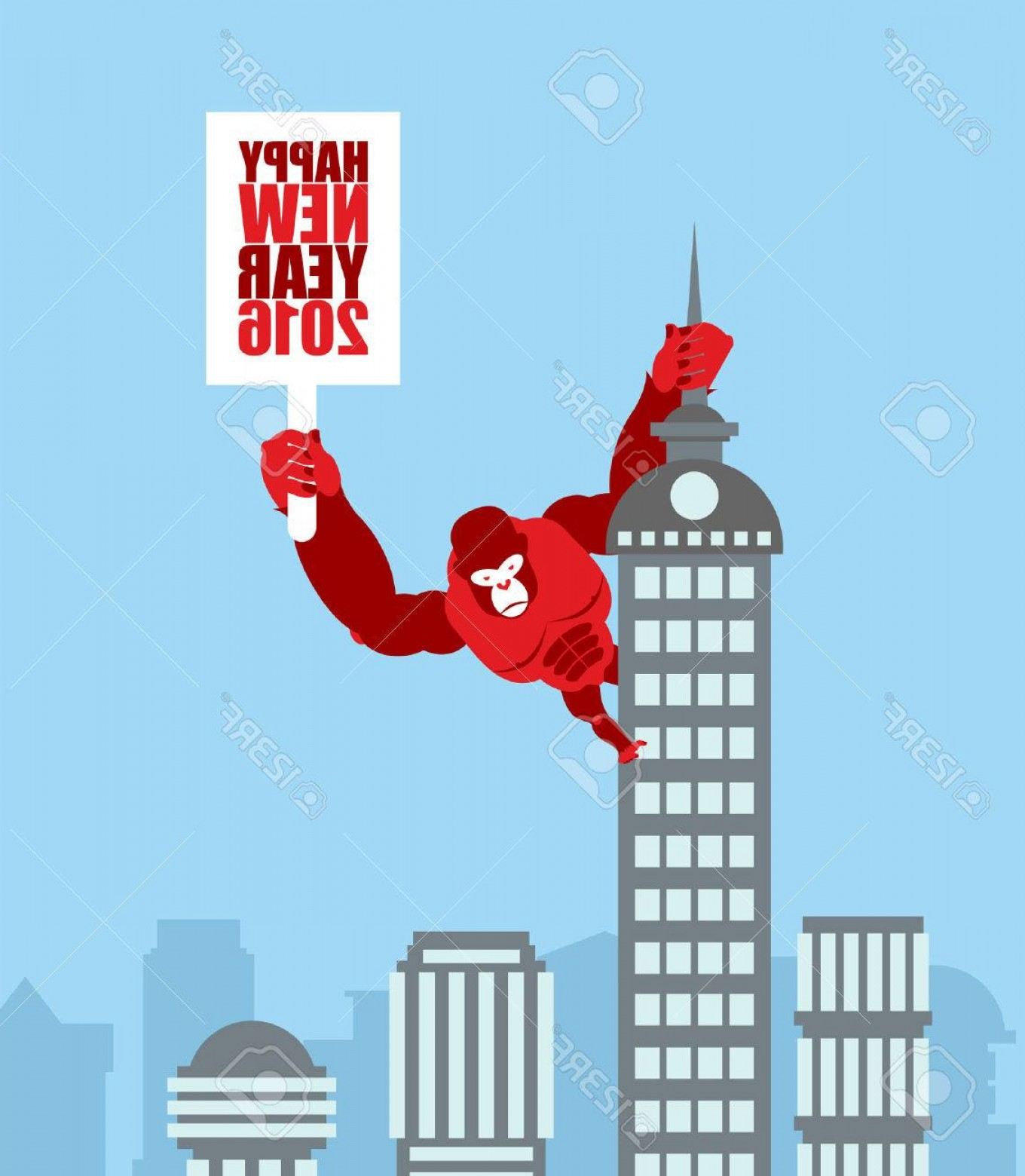 Drawings Of King Kong Vector: Photostock Vector Monkey On Skyscraper King Kong Holds A Sign With New Year Huge Strong Gorilla Climbed Up On Municipa