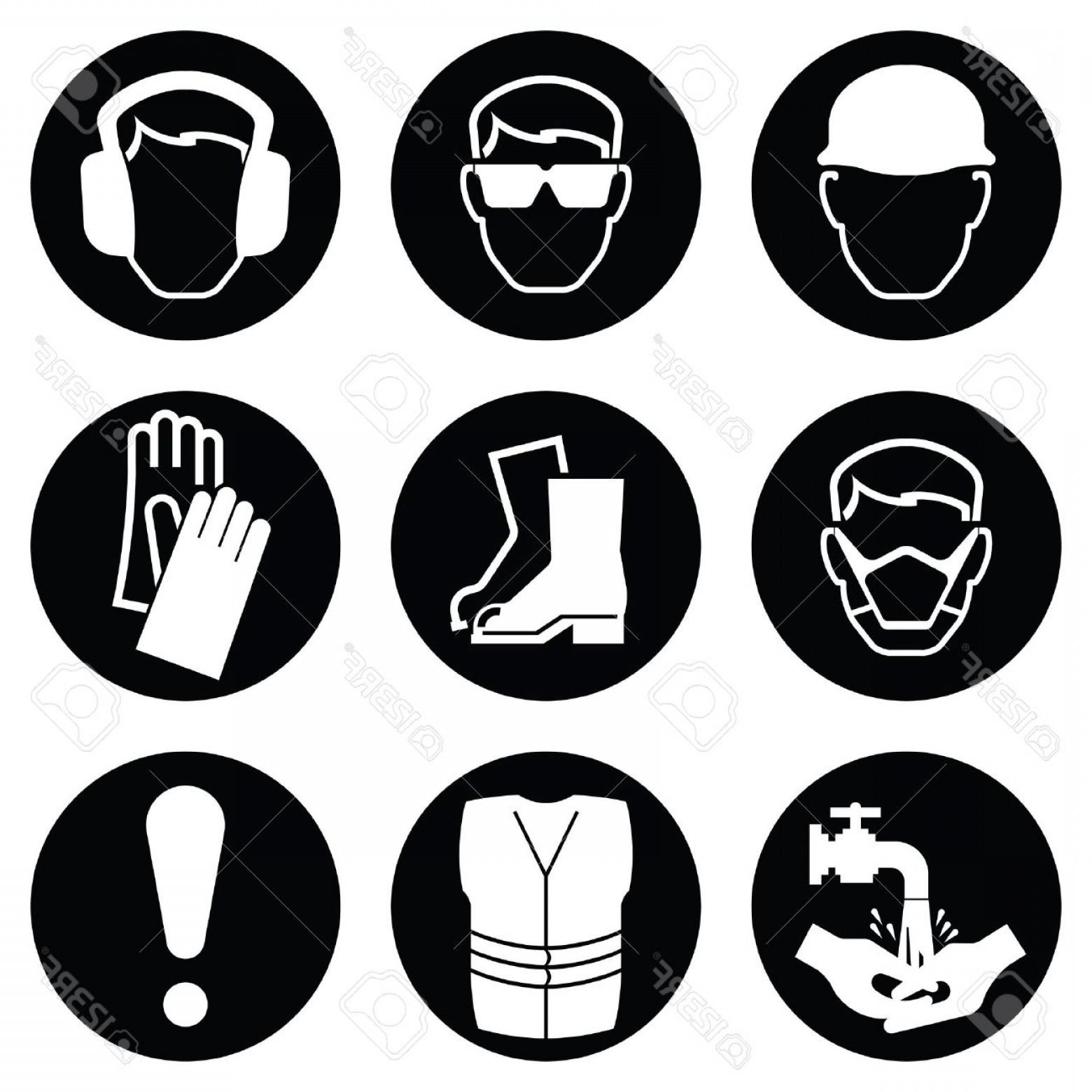 Construction Safety Goggles Vector: Photostock Vector Monochrome Black And White Construction And Manufacturing Industry Health And Safety Icon Collection