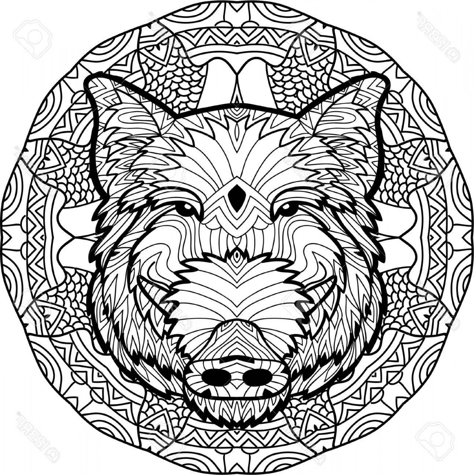 Razorback Vector Mandala: Photostock Vector Monochrome Drawing With National Patterns Painted The Boar On The Background Tribal Mandala Patterns