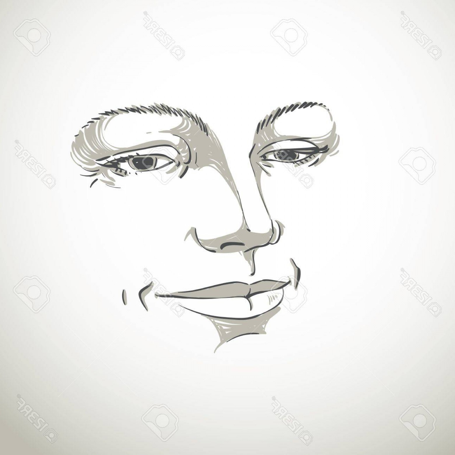 Woman Silhouette Vector Face Expression: Photostock Vector Monochrome Hand Drawn Silhouette Of Woman Face Delicate Features Face Expression On Lady Face Vector