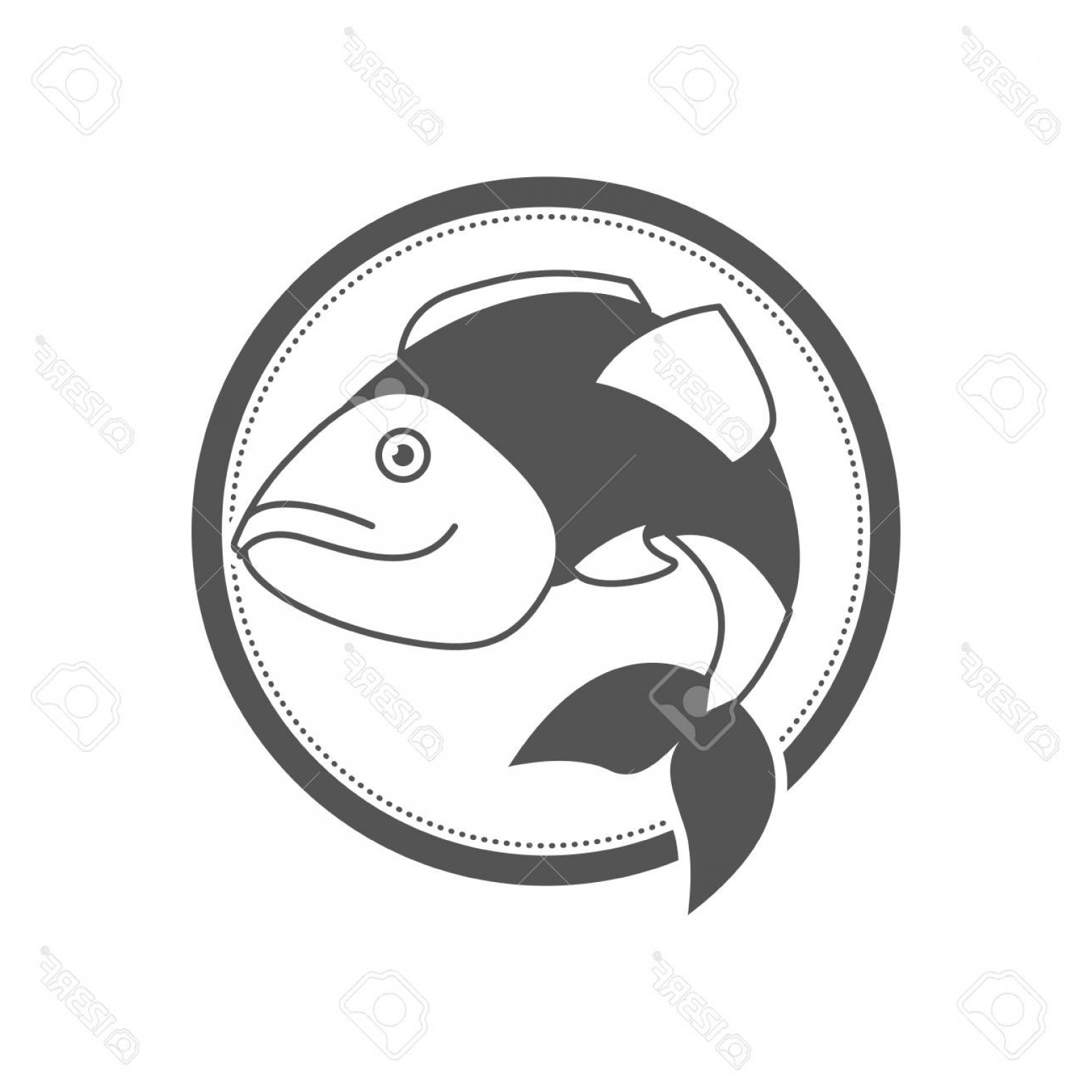 Largemouth Bass Silhouette Vector: Photostock Vector Monochrome Silhouette Circular Emblem With Largemouth Bass Fish Vector Illustration