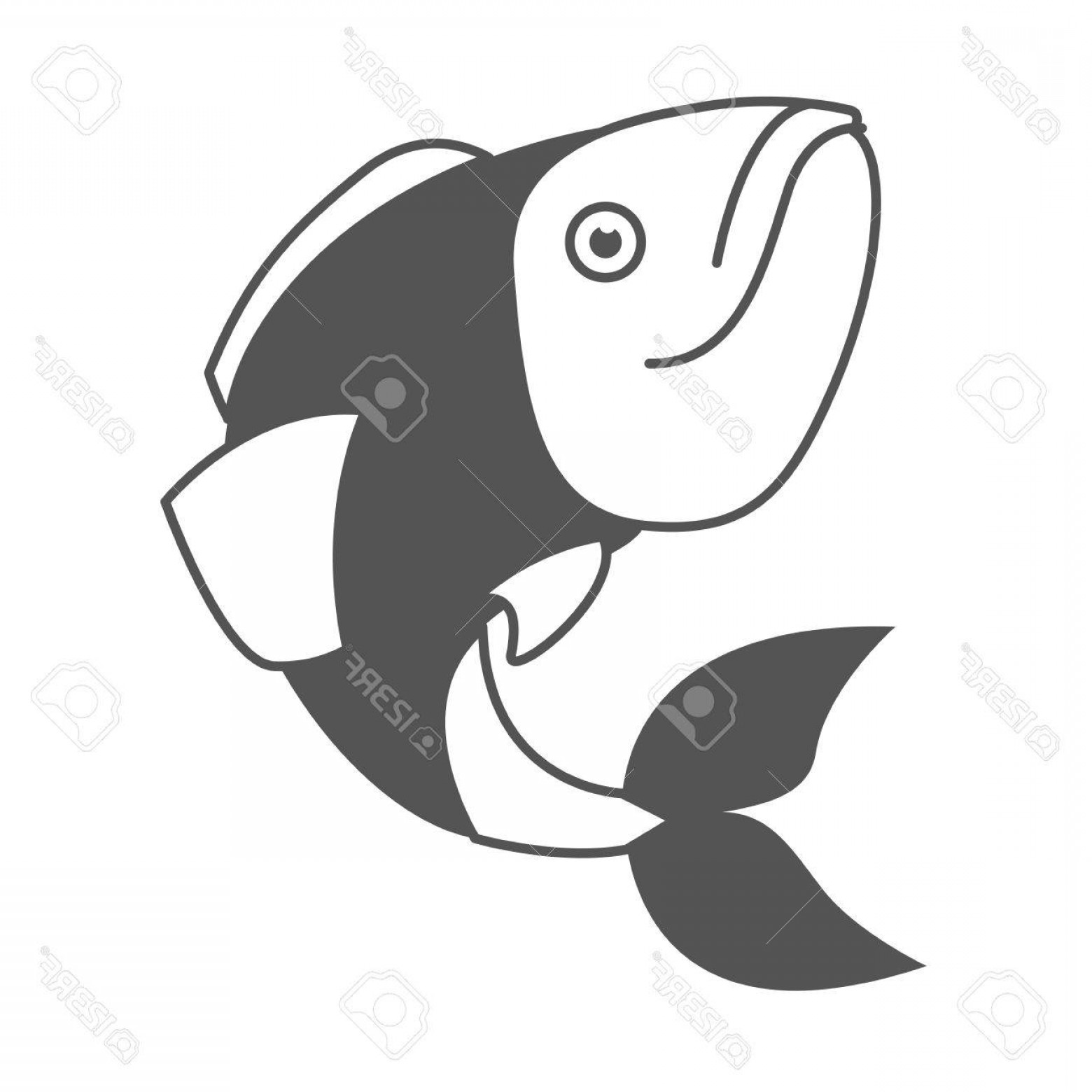Largemouth Bass Silhouette Vector: Photostock Vector Monochrome Silhouette Of Largemouth Bass Fish Vector Illustration