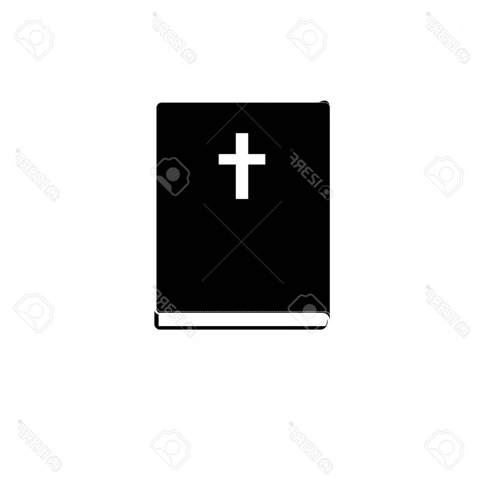 Holy Bible Vector: Photostock Vector Monochrome Silhouette With Holy Bible Vector Illustration
