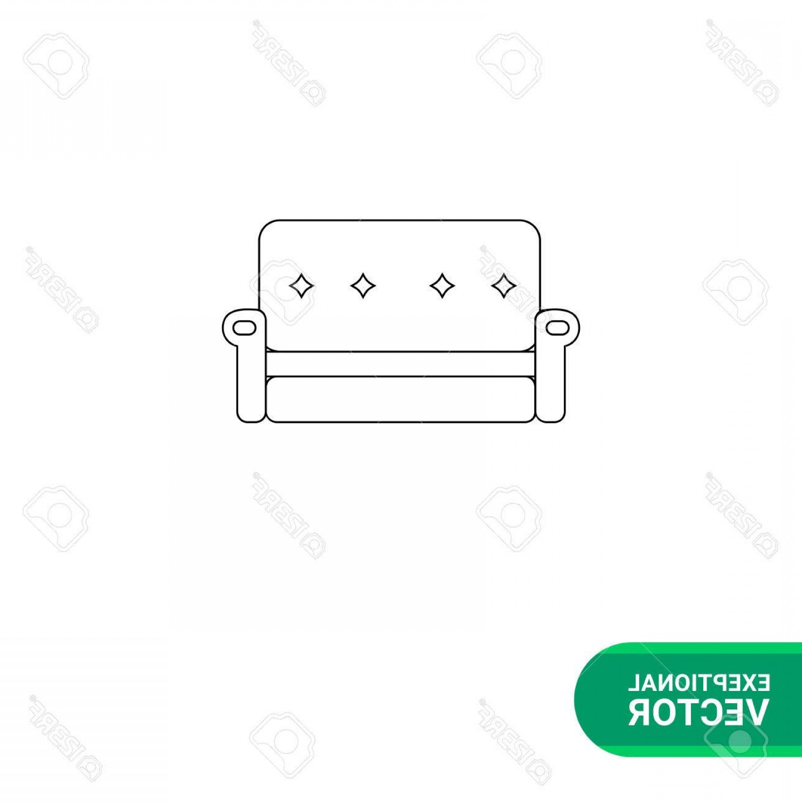 Back Of The Couch Vector: Photostock Vector Monochrome Vector Icon Of Couch With Decorated Back And Armrests