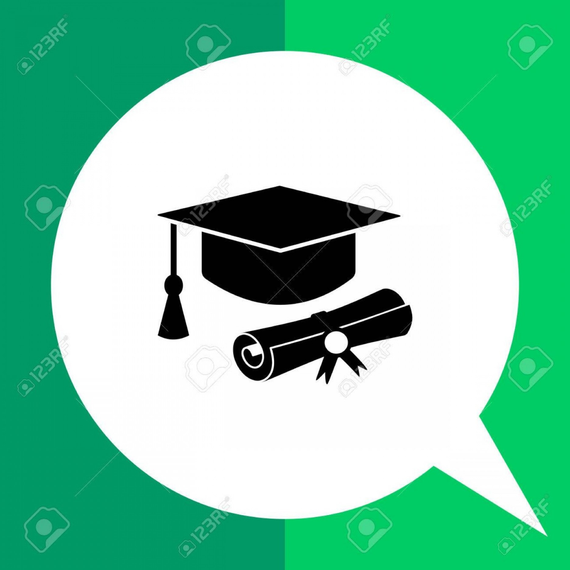 Tassel Vector: Photostock Vector Monochrome Vector Icon Of Diploma Roll And Graduate Hat With Tassel Representing Education