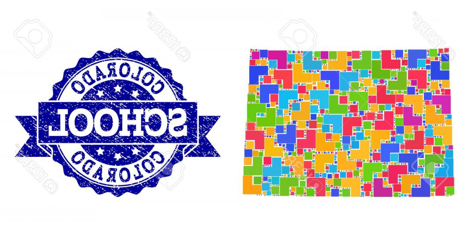 Colorado State Vector Maps: Photostock Vector Mosaic Puzzle Map Of Colorado State And Grunge School Seal Stamp With Ribbon Vector Map Of Colorado