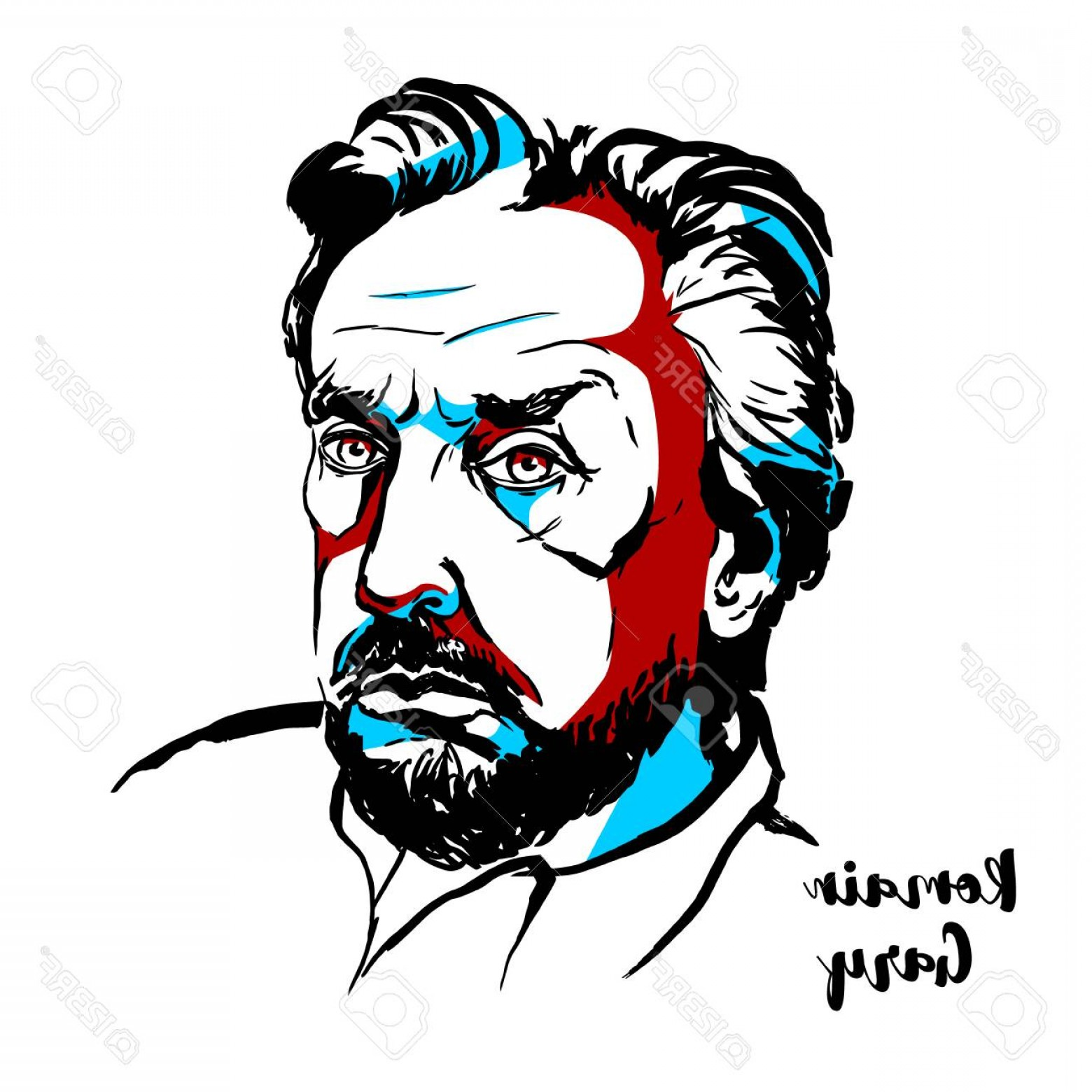 Aviator Vector Ink Drawings: Photostock Vector Moscow Russia June Romain Gary Engraved Vector Portrait With Ink Contours French Novelist D