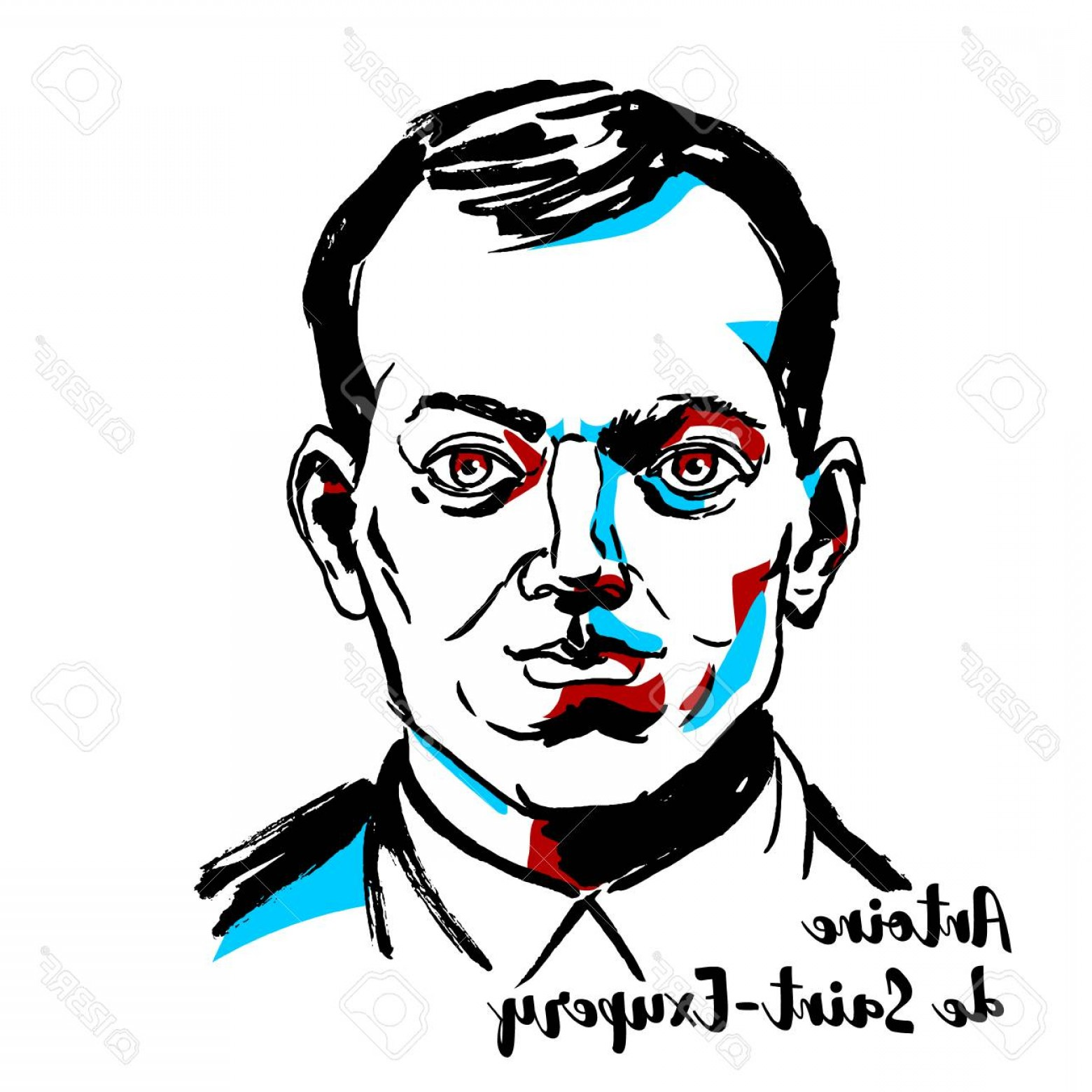 Aviator Vector Ink Drawings: Photostock Vector Moscow Russia September Antoine De Saint Exupery Engraved Vector Portrait With Ink Contours