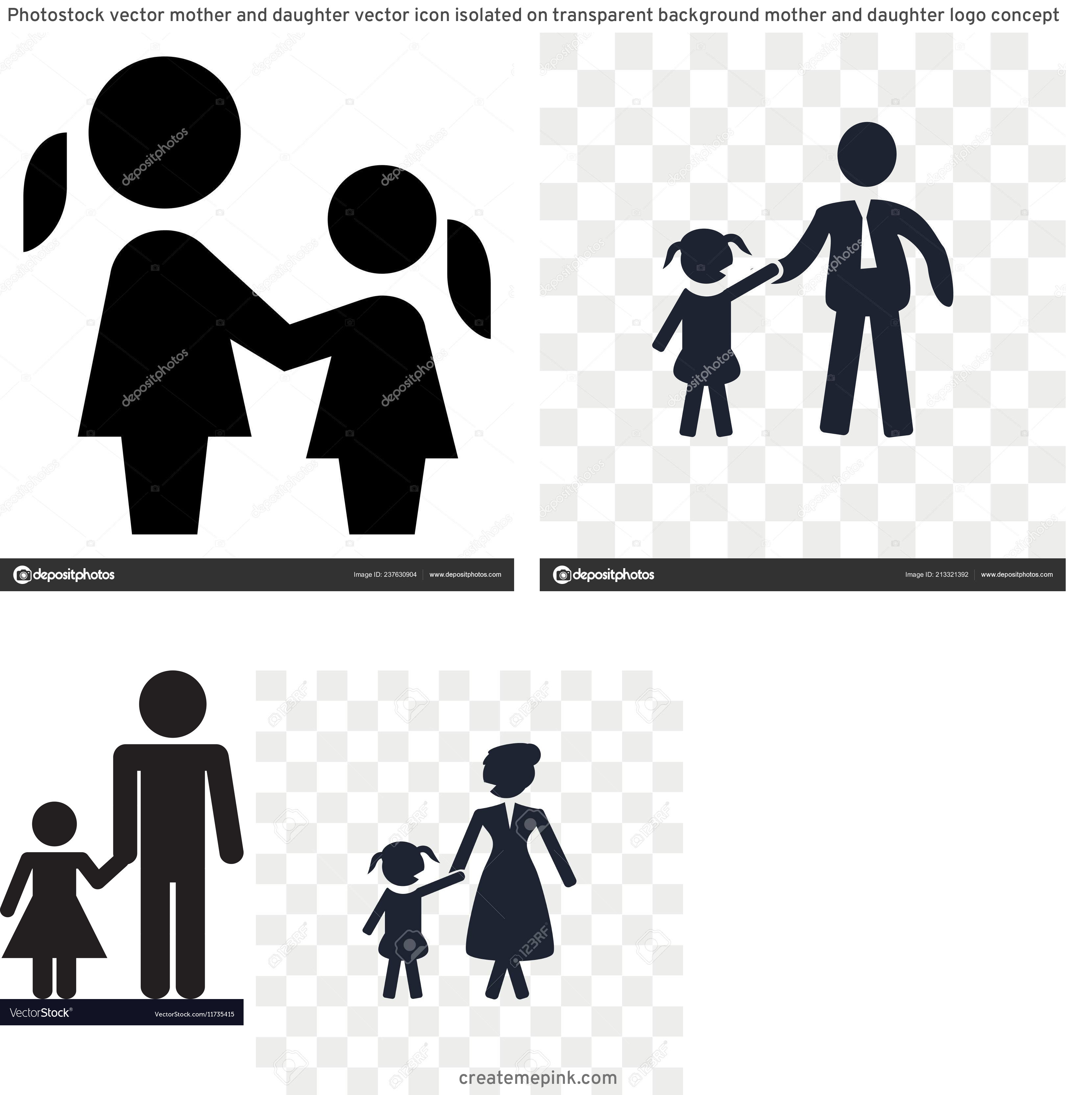 Daughter Vector Icons: Photostock Vector Mother And Daughter Vector Icon Isolated On Transparent Background Mother And Daughter Logo Concept