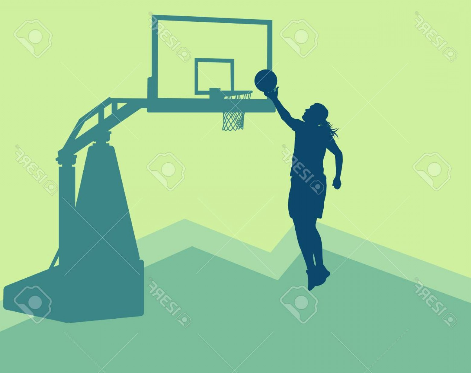 Motion Basketball Vector: Photostock Vector Motion Concept Of A Game In Action With Basketball Hoop Vector Background Basketball Woman