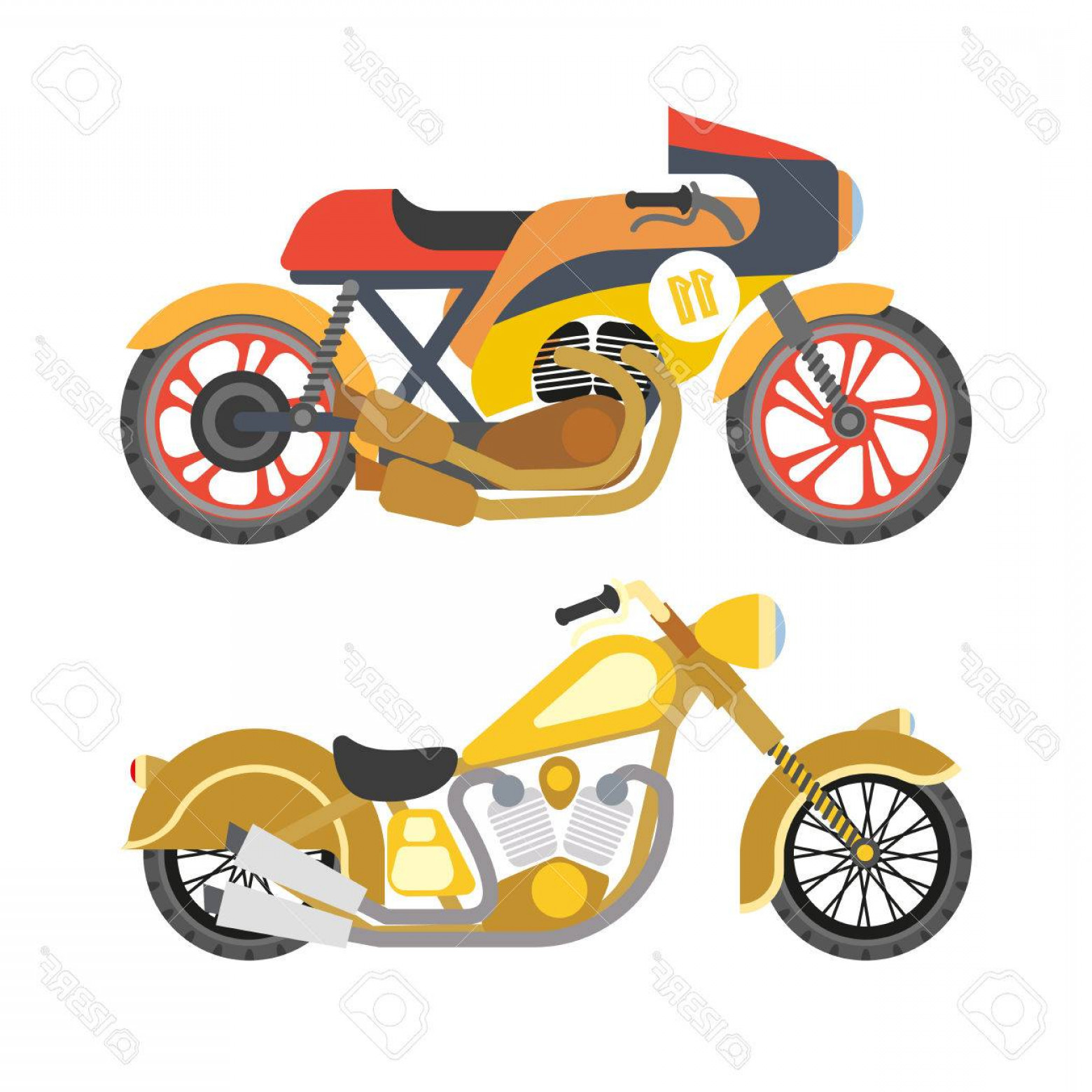 Flat Vector Motorcycle: Photostock Vector Motorcycle Motorbike Flat Vector Icons Set Speed Motorcycle Collection Vector Illustration Isolated