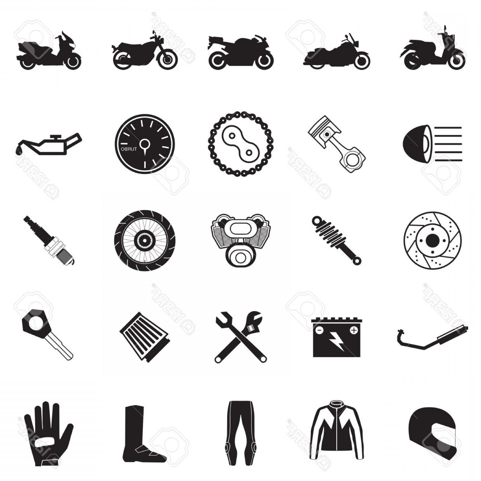 Vector Motorcycle Parts: Photostock Vector Motorcycle Part And Item Set