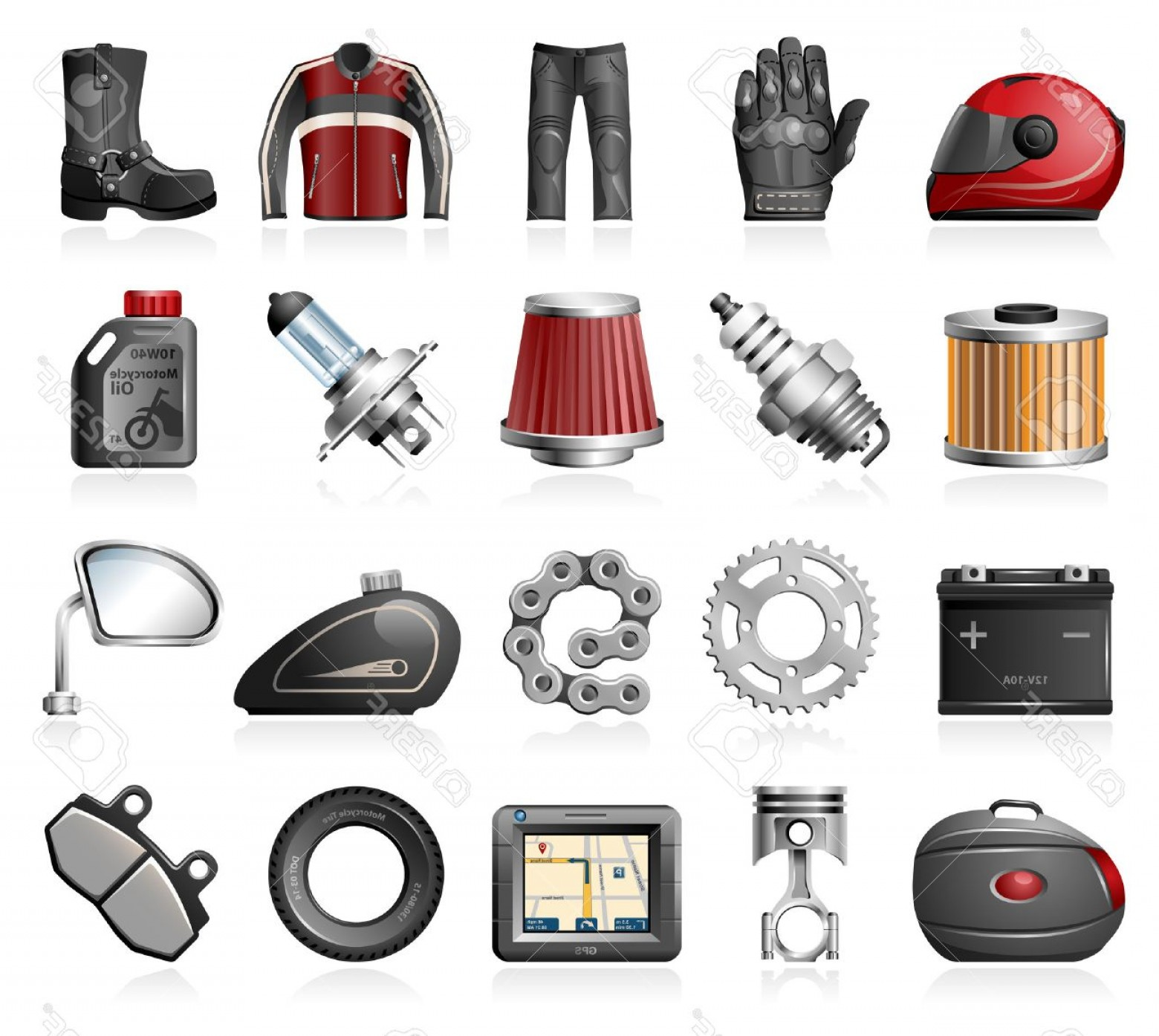 Vector Motorcycle Parts: Photostock Vector Motorcycle Parts And Accessories Icons