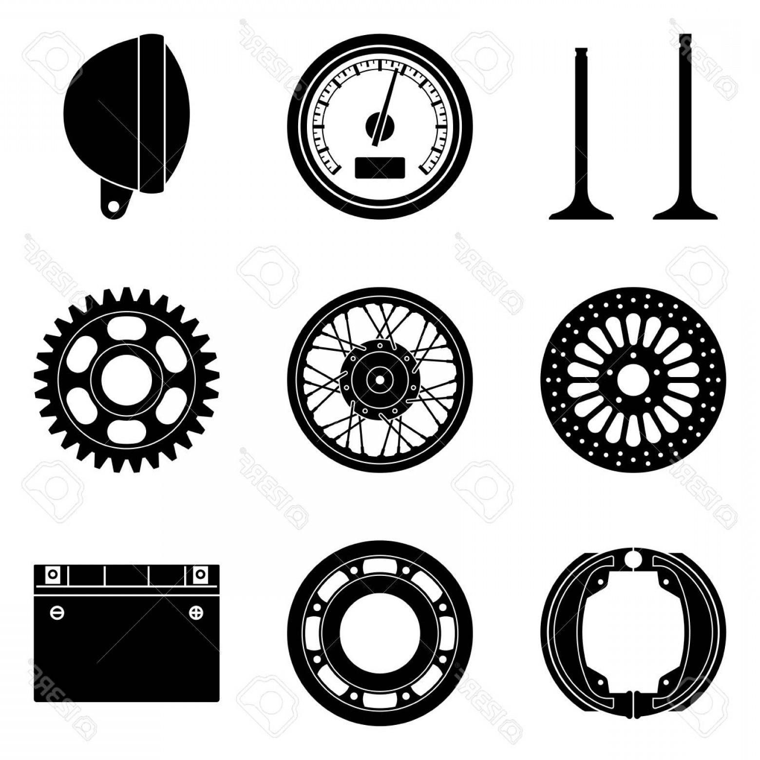 Vector Motorcycle Parts: Photostock Vector Motorcycle Parts Icons Set Silhouette Vector