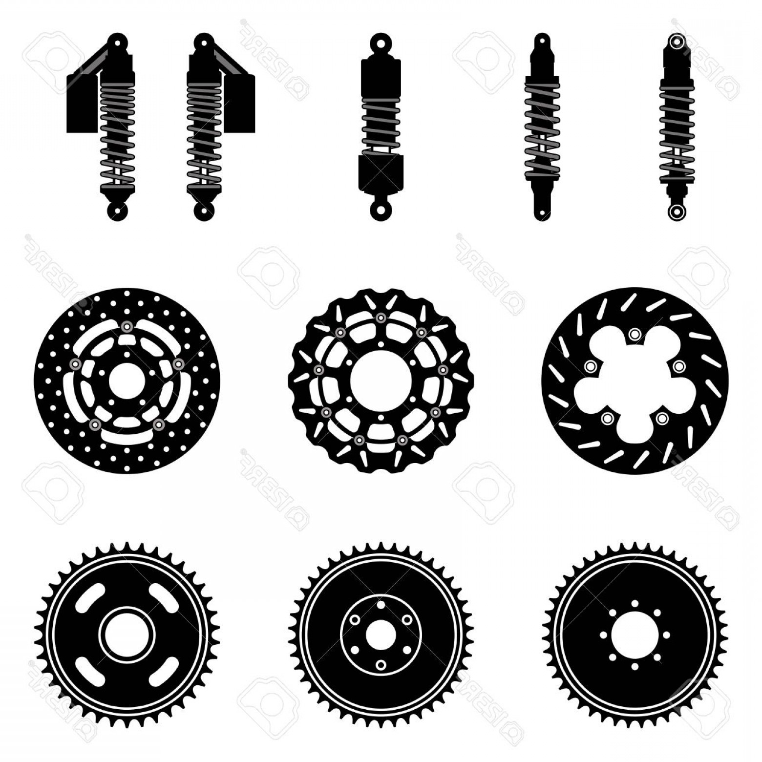 Vector Motorcycle Parts: Photostock Vector Motorcycle Parts Suspension And Brake Silhouette Vector