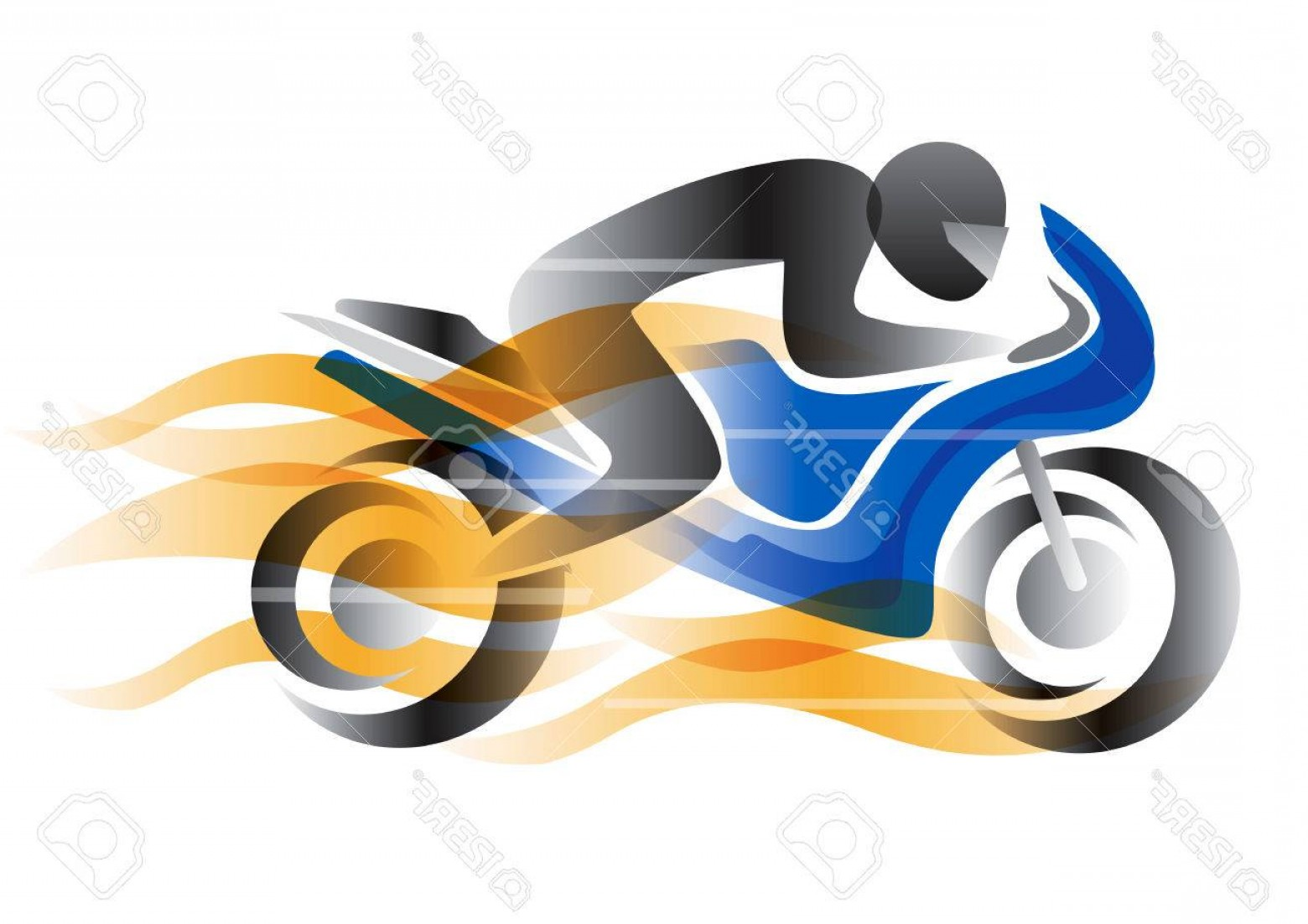 Stylized Vector Motorcycle: Photostock Vector Motorcycle Rider With Flames Stylized Illustration Of A Burning Motorcycle With Competitor Vector Av
