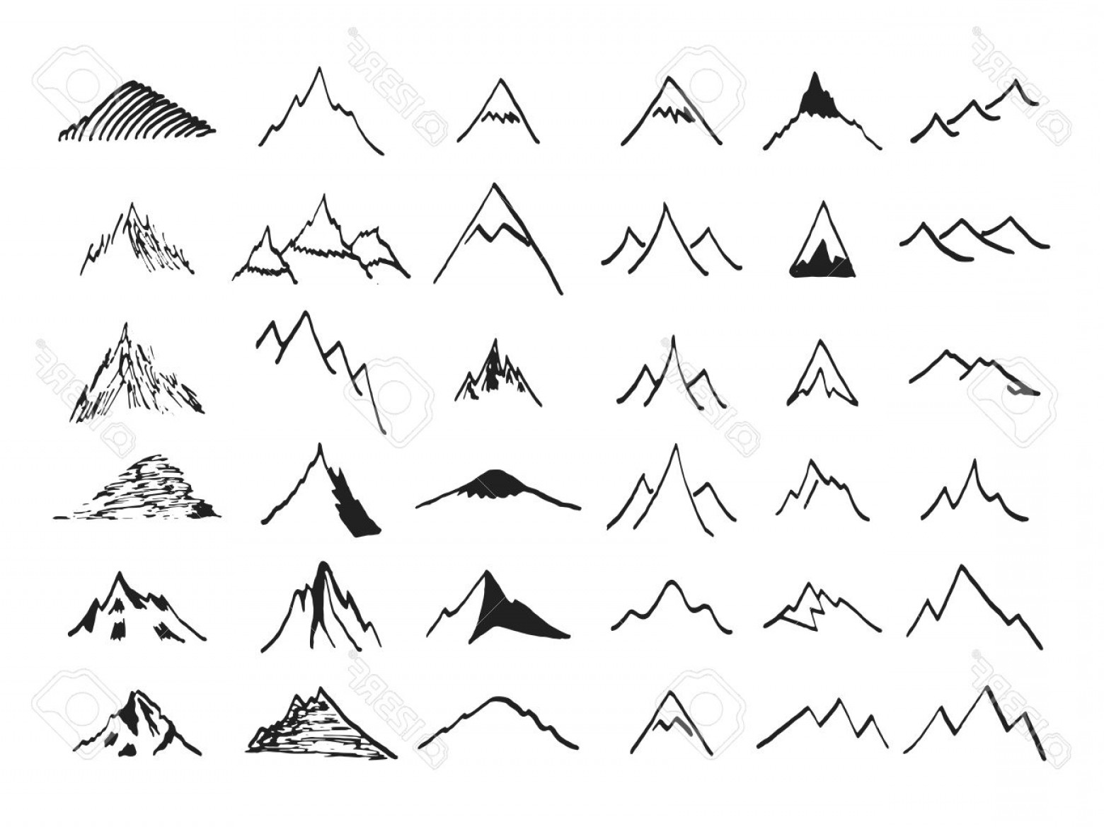 Rocky Mountain Line Art Vector: Photostock Vector Mountain Icons Set Hand Drawn Line Icon Vintage Silhouette Collection Rock Ridges Volcano Snow Ice P