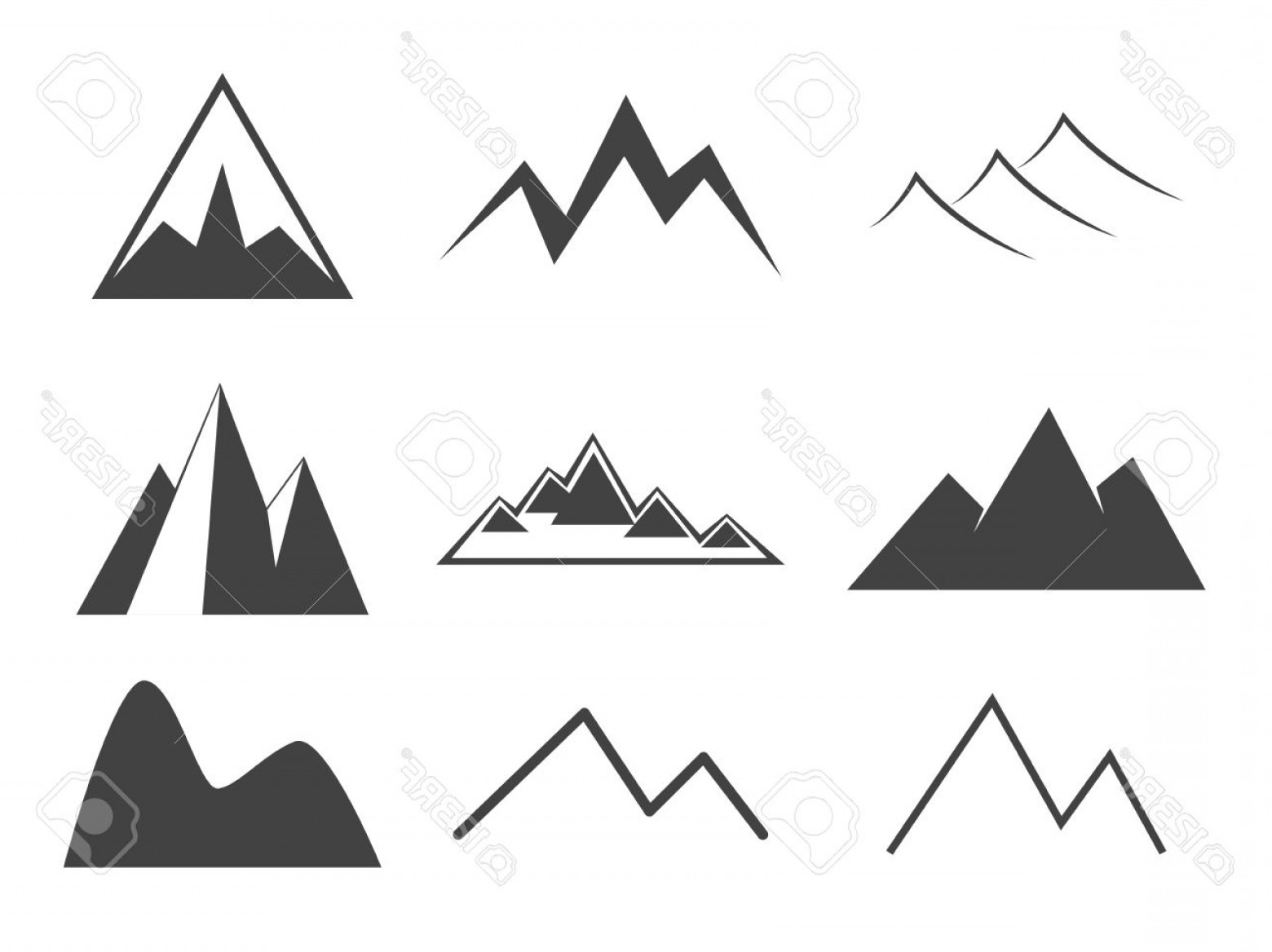 Rocky Mountain Line Art Vector: Photostock Vector Mountain Icons Set Line Icon Vintage Silhouette Collection Rock Ridges Volcano Snow Ice Peacks Outdo