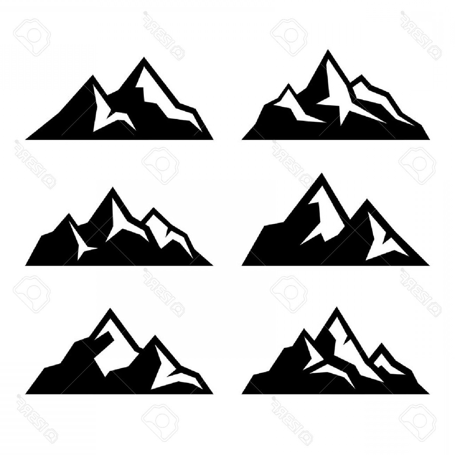 White Mountain Silhouette Vector Free: Photostock Vector Mountain Icons Set On White Background Vector Illustration