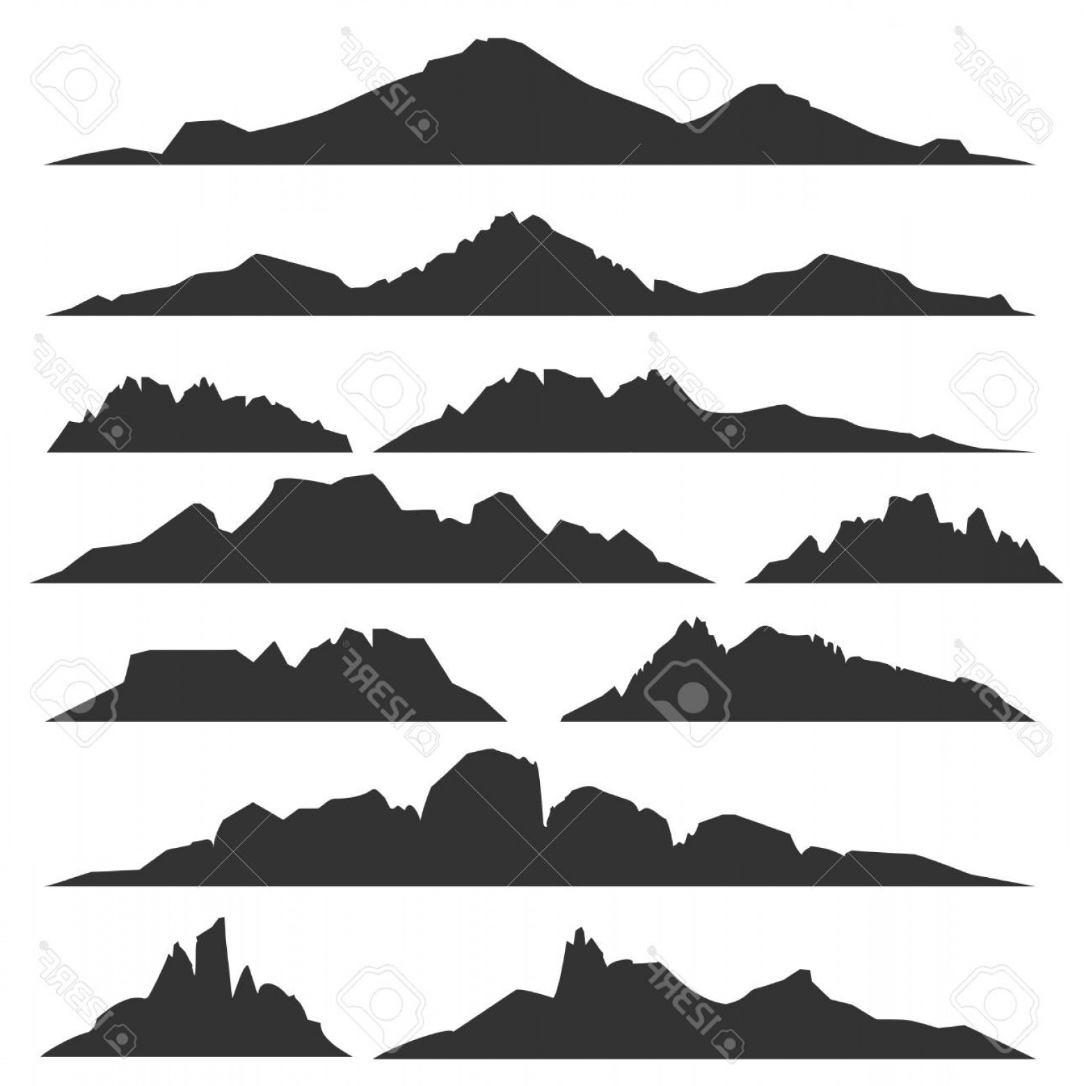 White Mountain Silhouette Vector Free: Photostock Vector Mountain Silhouettes Overlook Vector Rocky Hills Terrain Vector Mountains Silhouette Set Isolated On