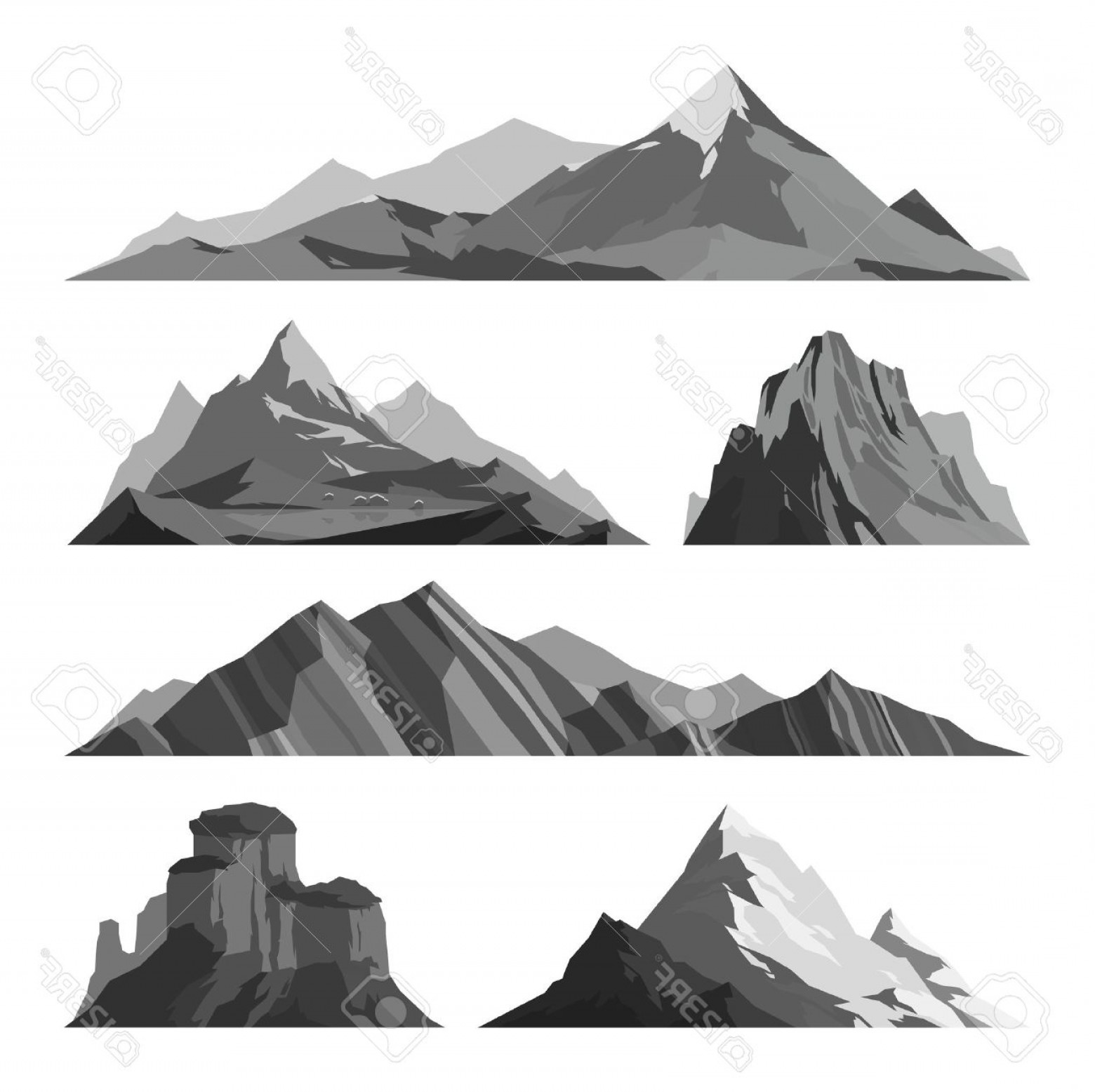 White Mountain Silhouette Vector Free: Photostock Vector Mountain Vector Illustration Nature Mountain Silhouette Elements Outdoor Icon Snow Ice Mountain Tops