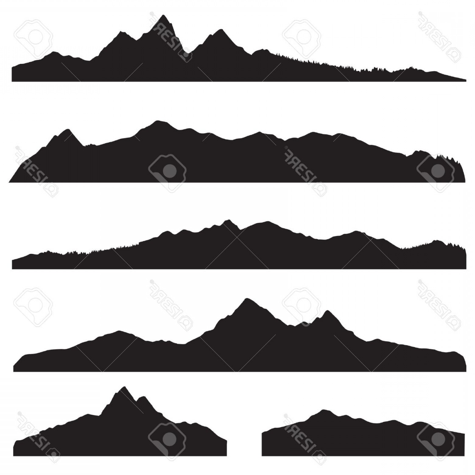 White Mountain Silhouette Vector Free: Photostock Vector Mountains Landscape Silhouette Set Abstract High Mountain Border Background Collection
