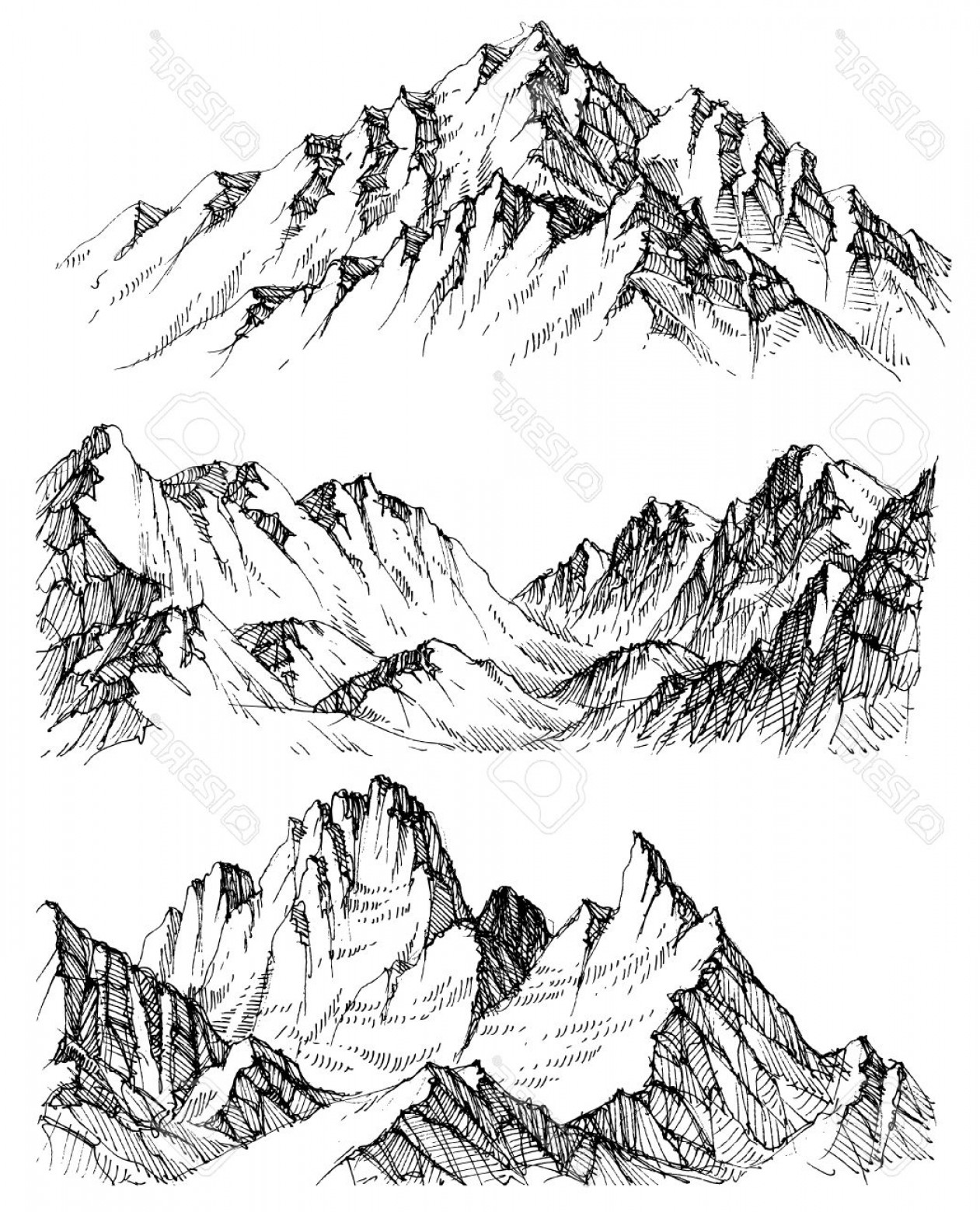 Rocky Mountain Line Art Vector: Photostock Vector Mountains Vector Set Hand Drawn Rocky Peaks
