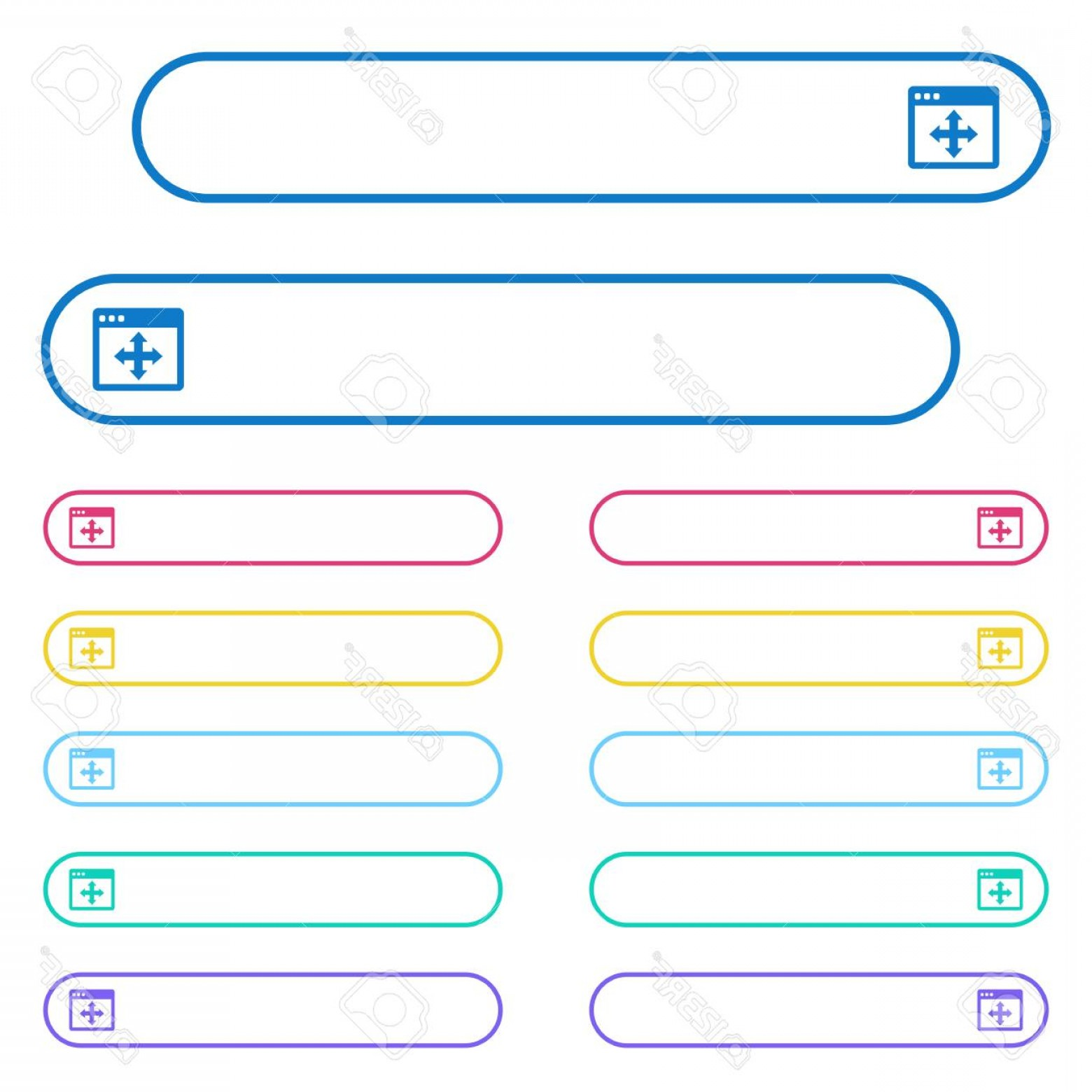 Windows 8 Phone Icon Vector: Photostock Vector Move Window Icons In Rounded Color Menu Buttons Left And Right Side Icon Variations