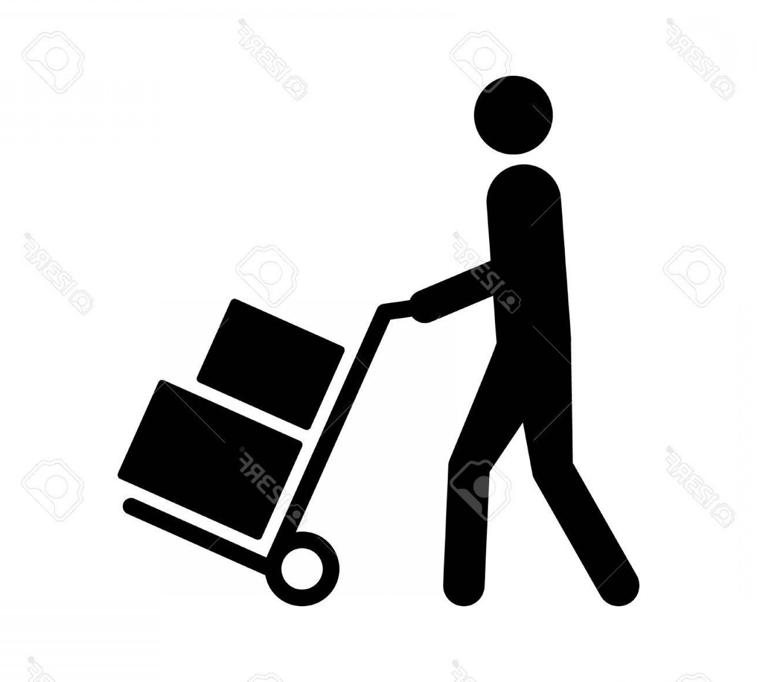 Hand Cart Silhouette Vectors: Photostock Vector Mover Pushing Moving Hand Truck Or Dolly With Boxes Flat Vector Icon For Apps And Websites