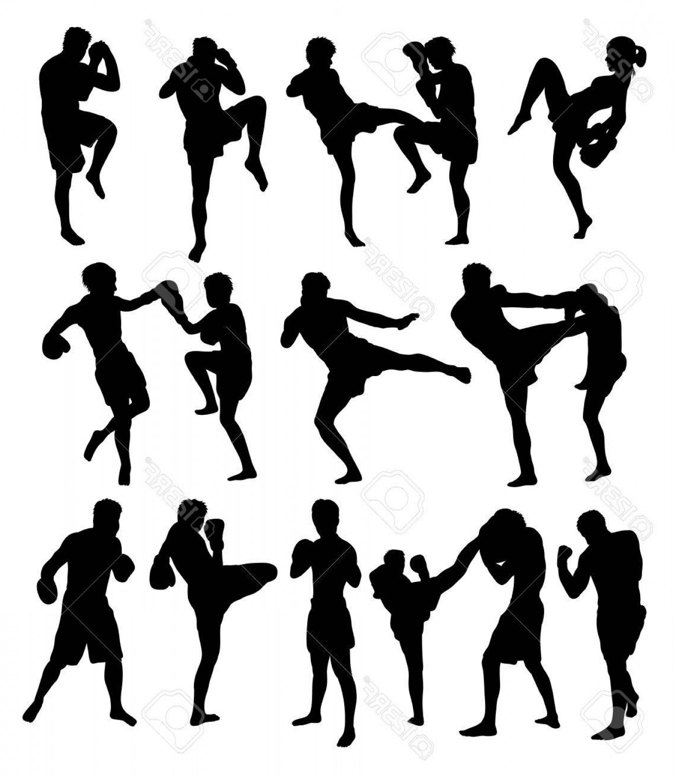 UFC Kick Vector: Photostock Vector Muay Thai Or Kickboxing Silhouettes Art Vector Design