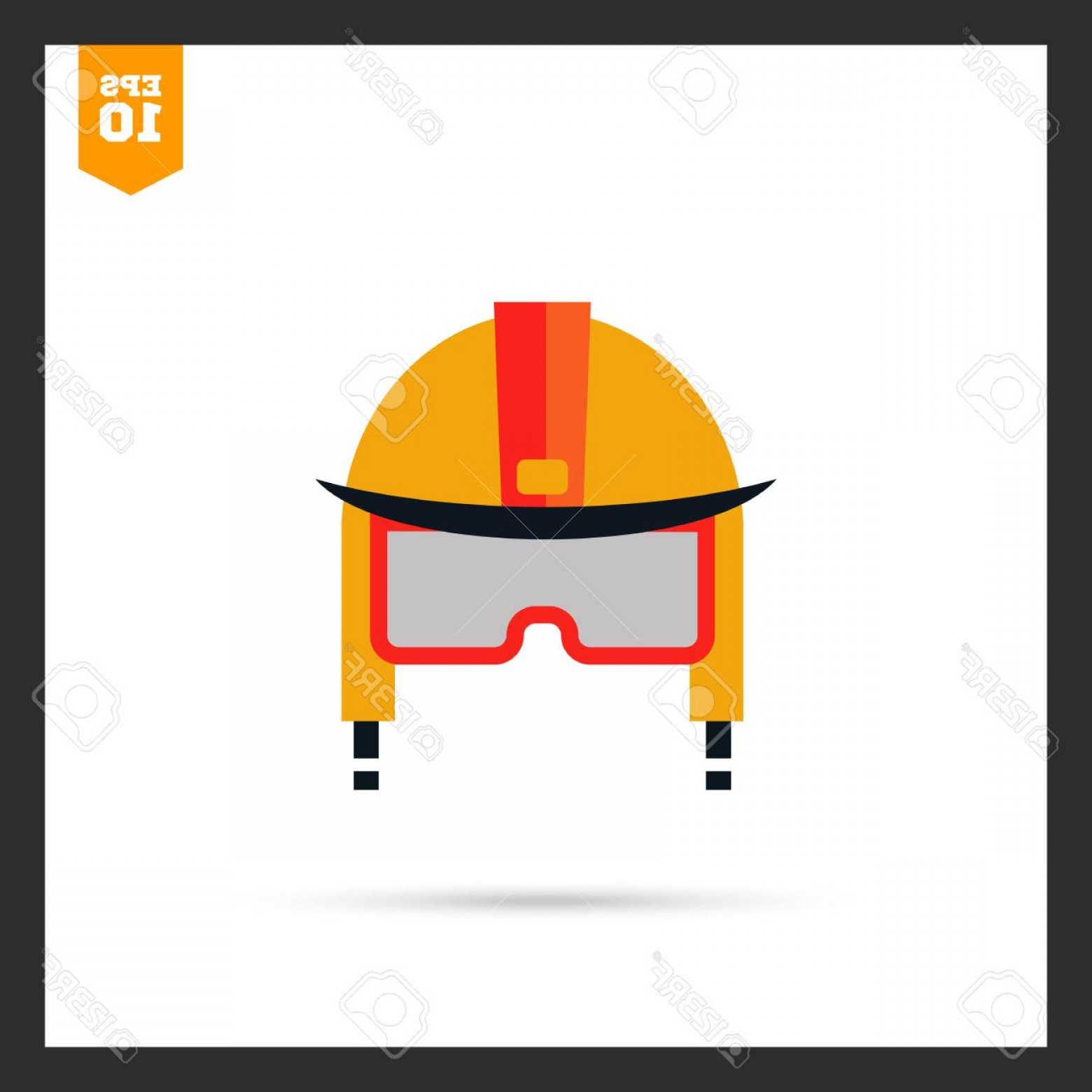 Fighter Helmet Vectors: Photostock Vector Multicolored Icon Of Fire Fighter Helmet