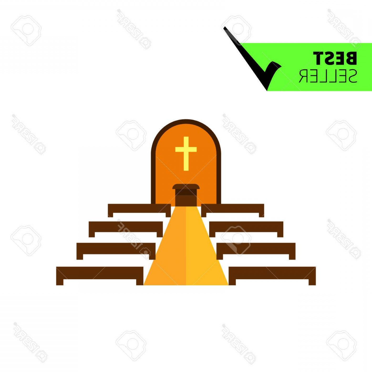 Catholic Clip Art Vector: Photostock Vector Multicolored Vector Icon Of Catholic Church Interior With Altar And Bench Rows