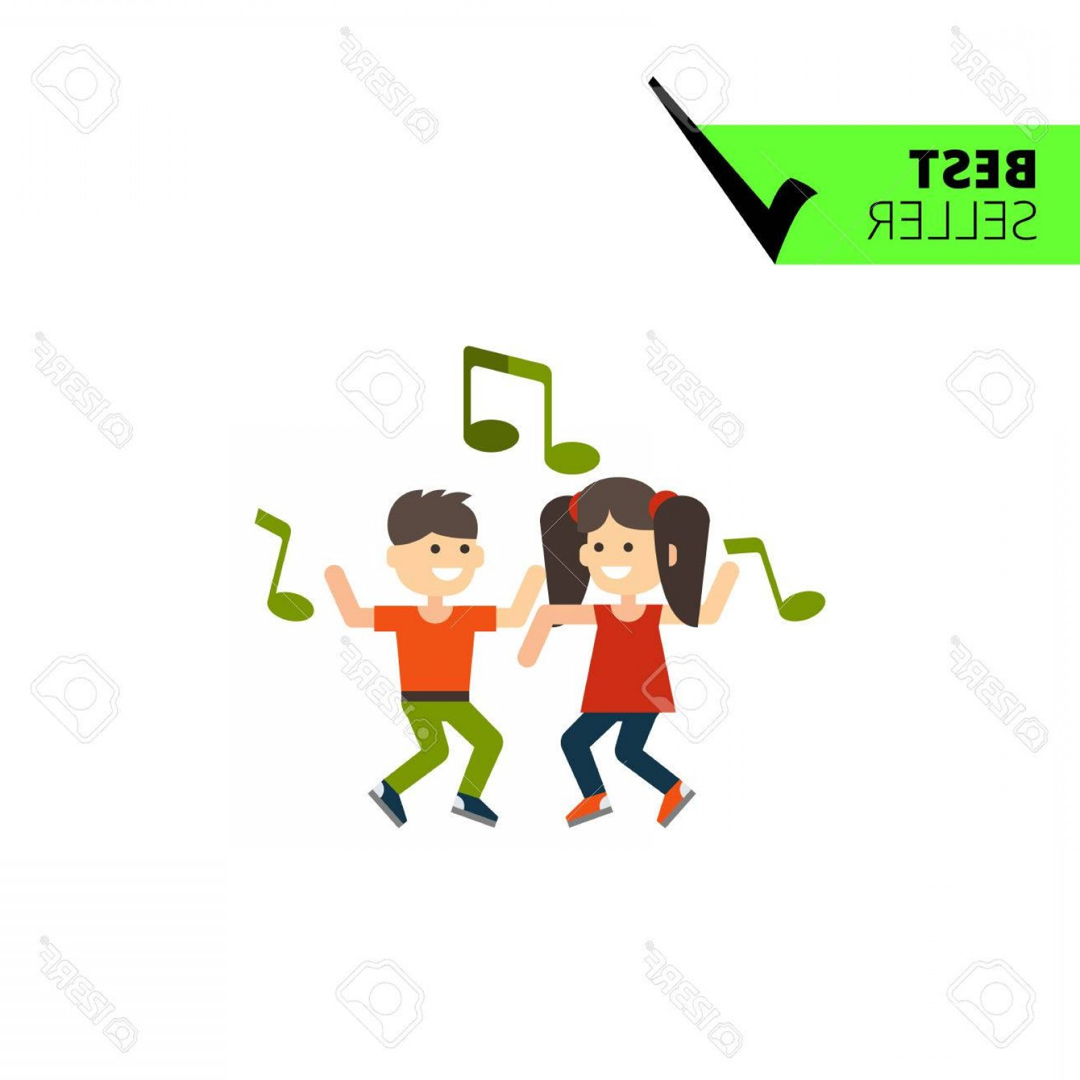Dancing Musical Notes Vector: Photostock Vector Multicolored Vector Icon Of Dancing Girl Boy And Green Musical Notes