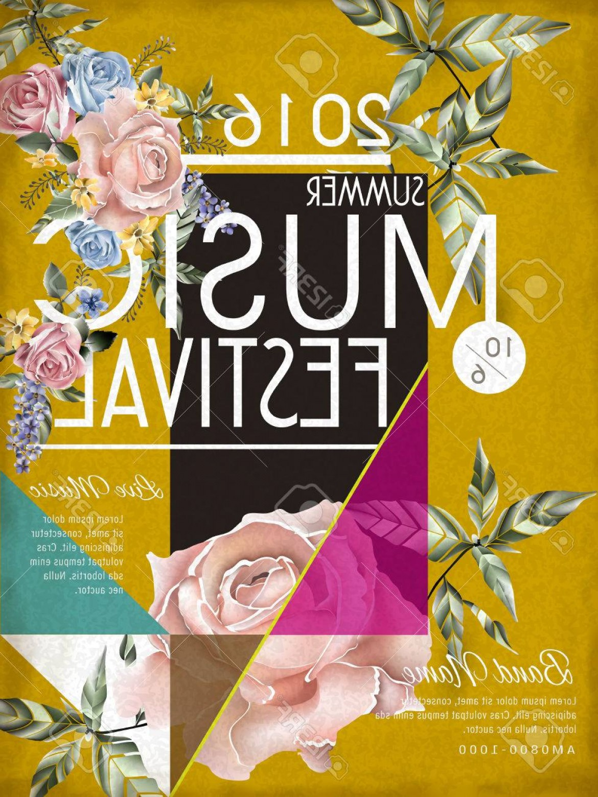 Vector Flower Band: Photostock Vector Music Festival Poster Template Design With Floral Elements