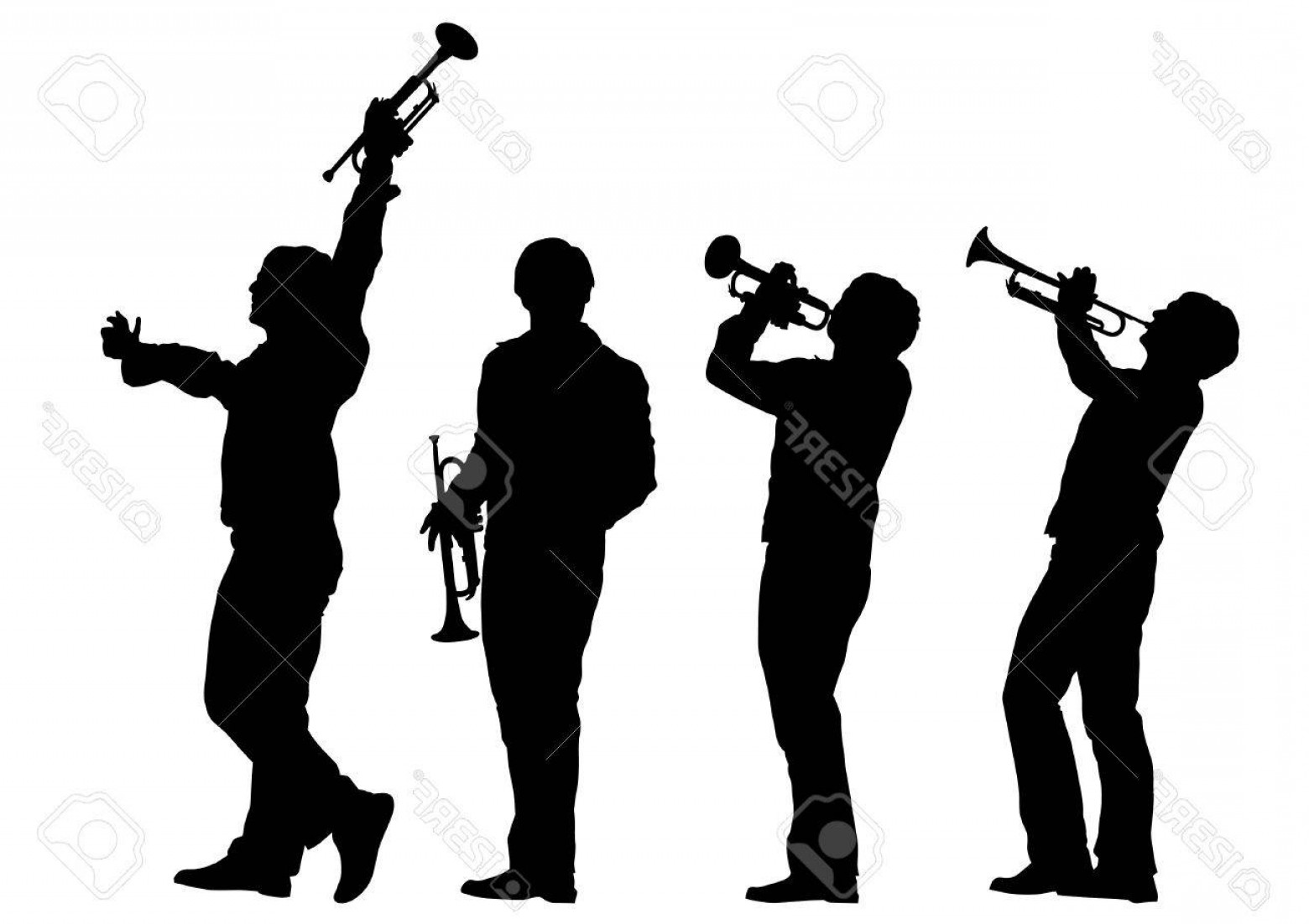 Musician Person Vector: Photostock Vector Music Man Whit Trumpet On White Background
