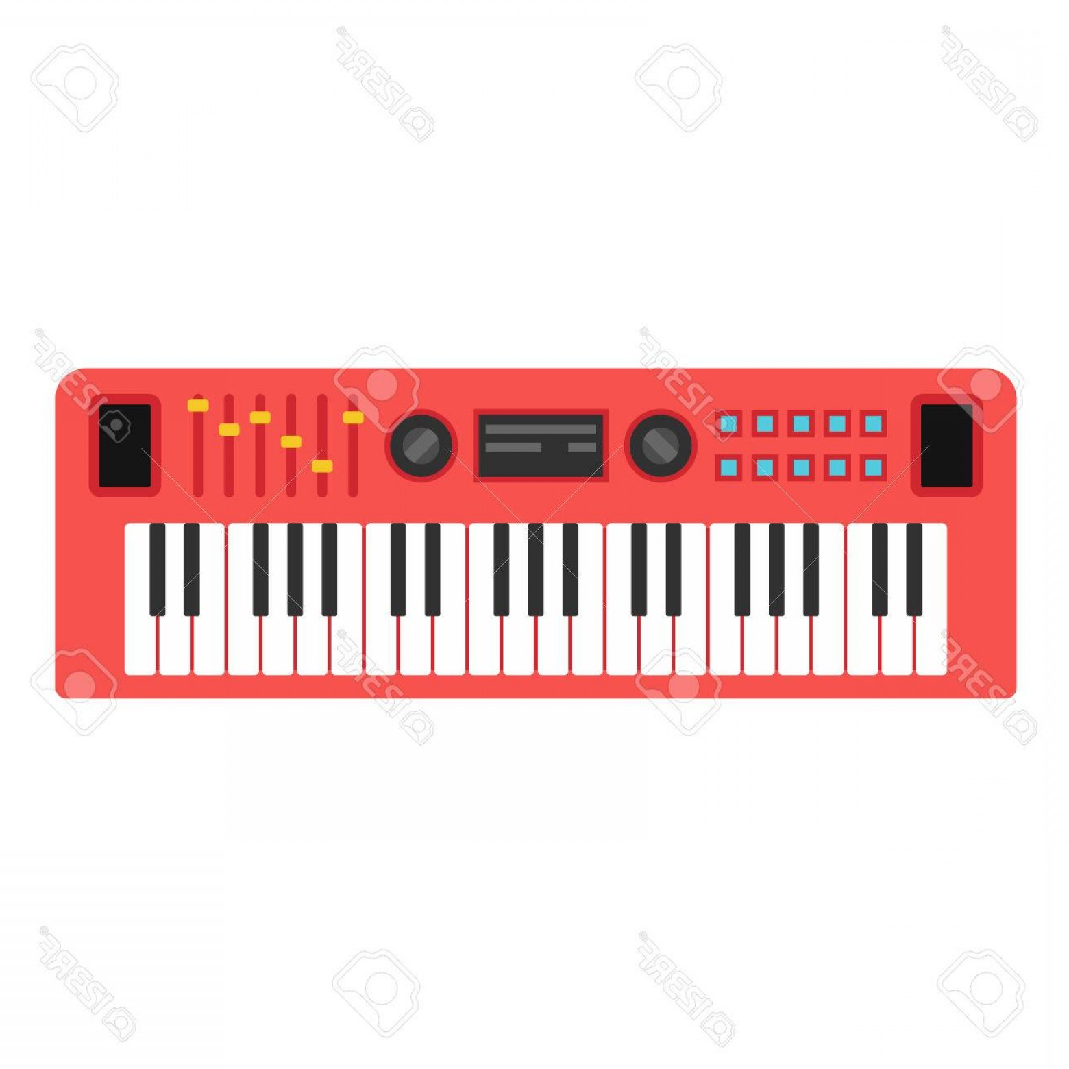 Musical Keyboard Vector: Photostock Vector Music Synthesizer Sound Musical Piano Keyboard Flat Style Vctor Illustration