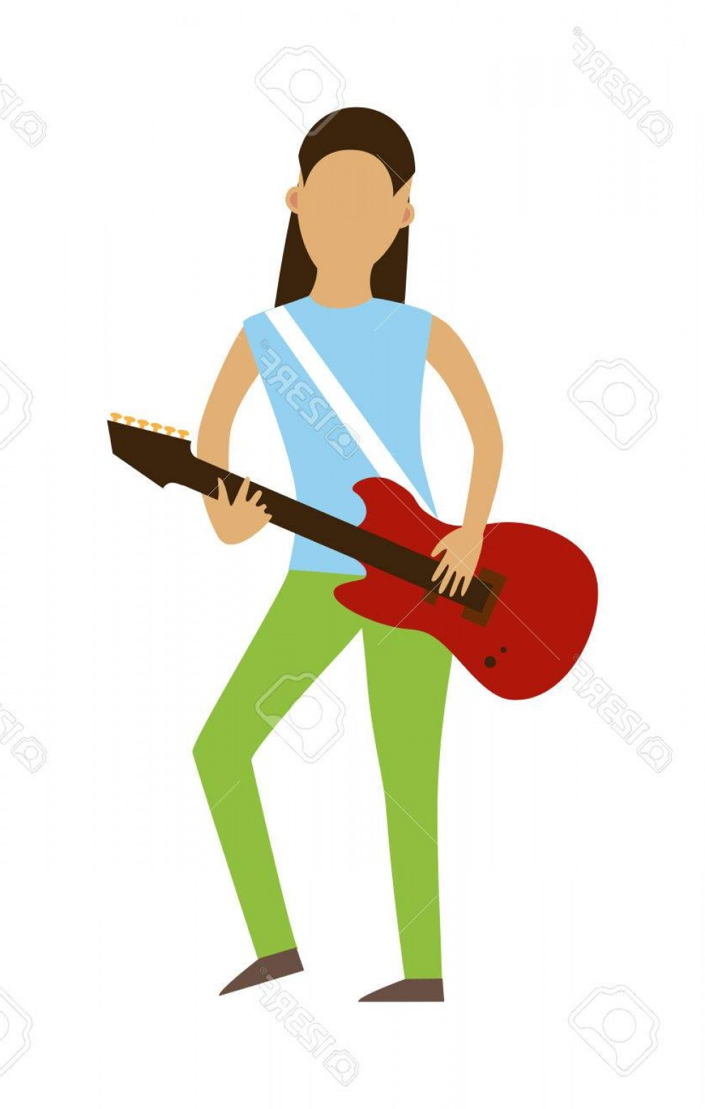 Musician Person Vector: Photostock Vector Musician People Flat Illustration Musician Cartoon Characters With Guitar Isolated On White Backgrou