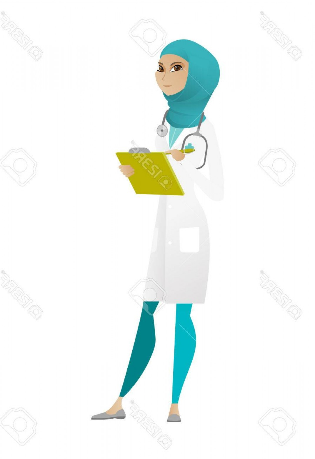 Notepad Writing Hand Vector: Photostock Vector Muslim Doctor Writing Notes In A Notepad Doctor Writing Results Of Medical Examination Doctor Writin