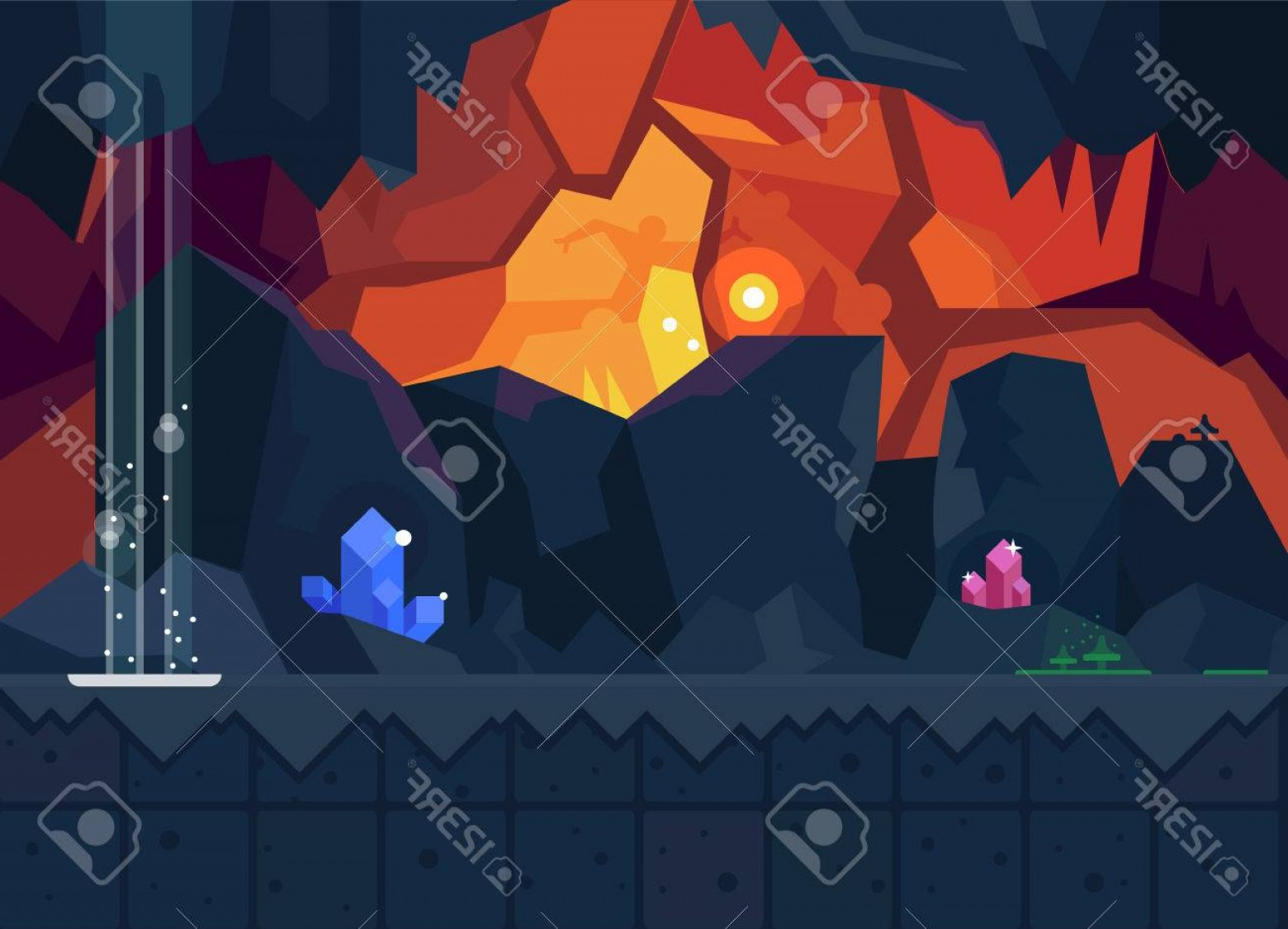 Cave Vector: Photostock Vector Mysterious Cave With Magical Crystals Vector Flat Background For The Game Seamless Texture