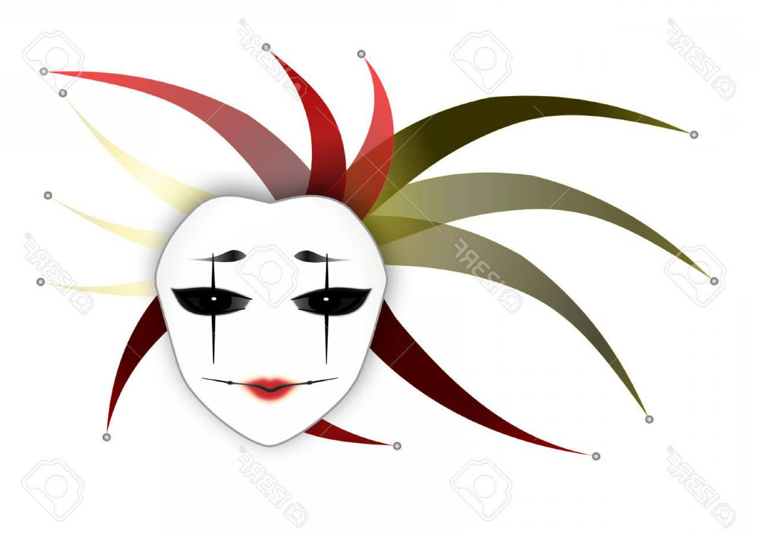 Joker Smile Vector Art: Photostock Vector Mysterious Woman Mask Joker Lady White Background Vector Illustration