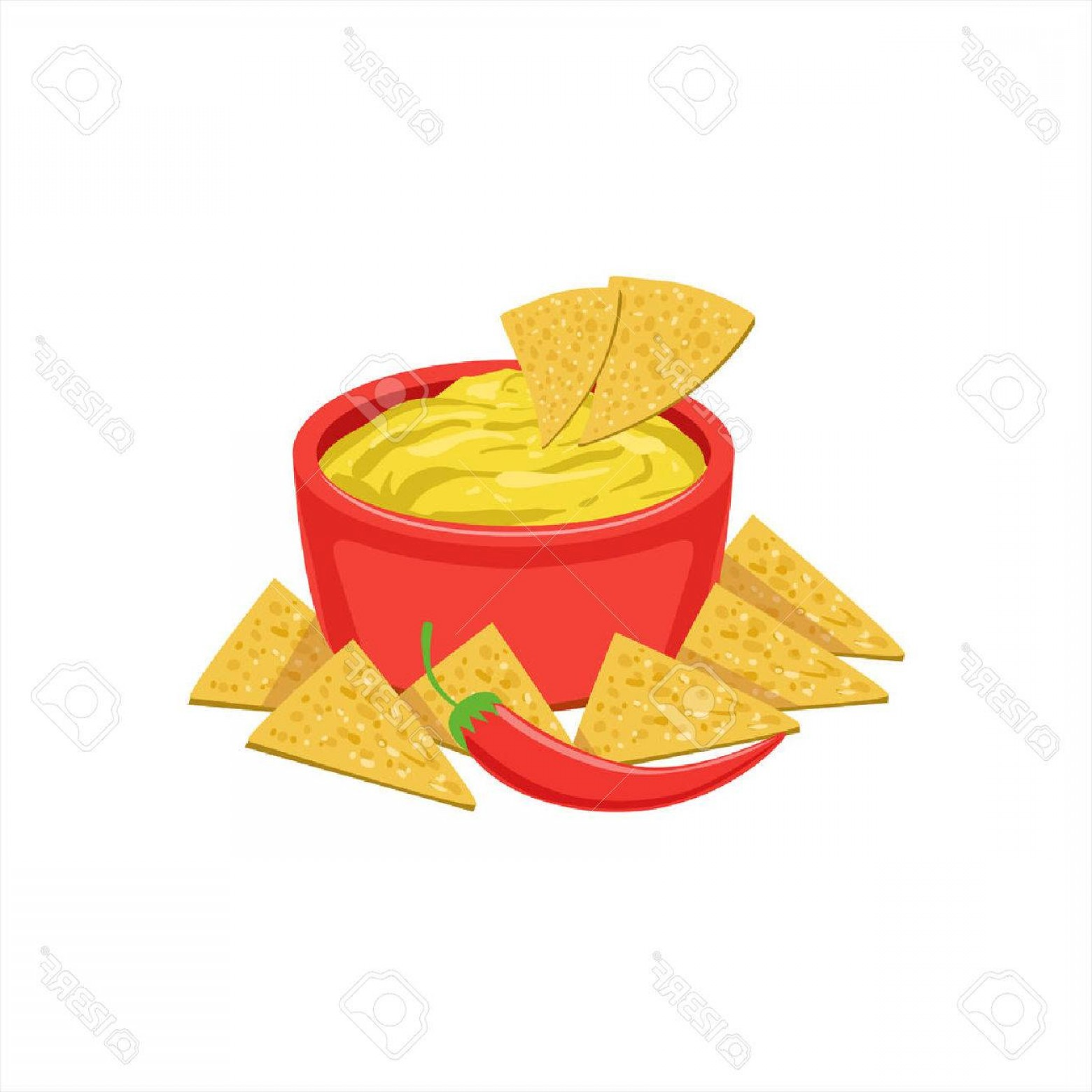 Chips Queso Vector: Photostock Vector Nachos Chips With Cheese Dip Traditional Mexican Cuisine Dish Food Item From Cafe Menu Vector Illust