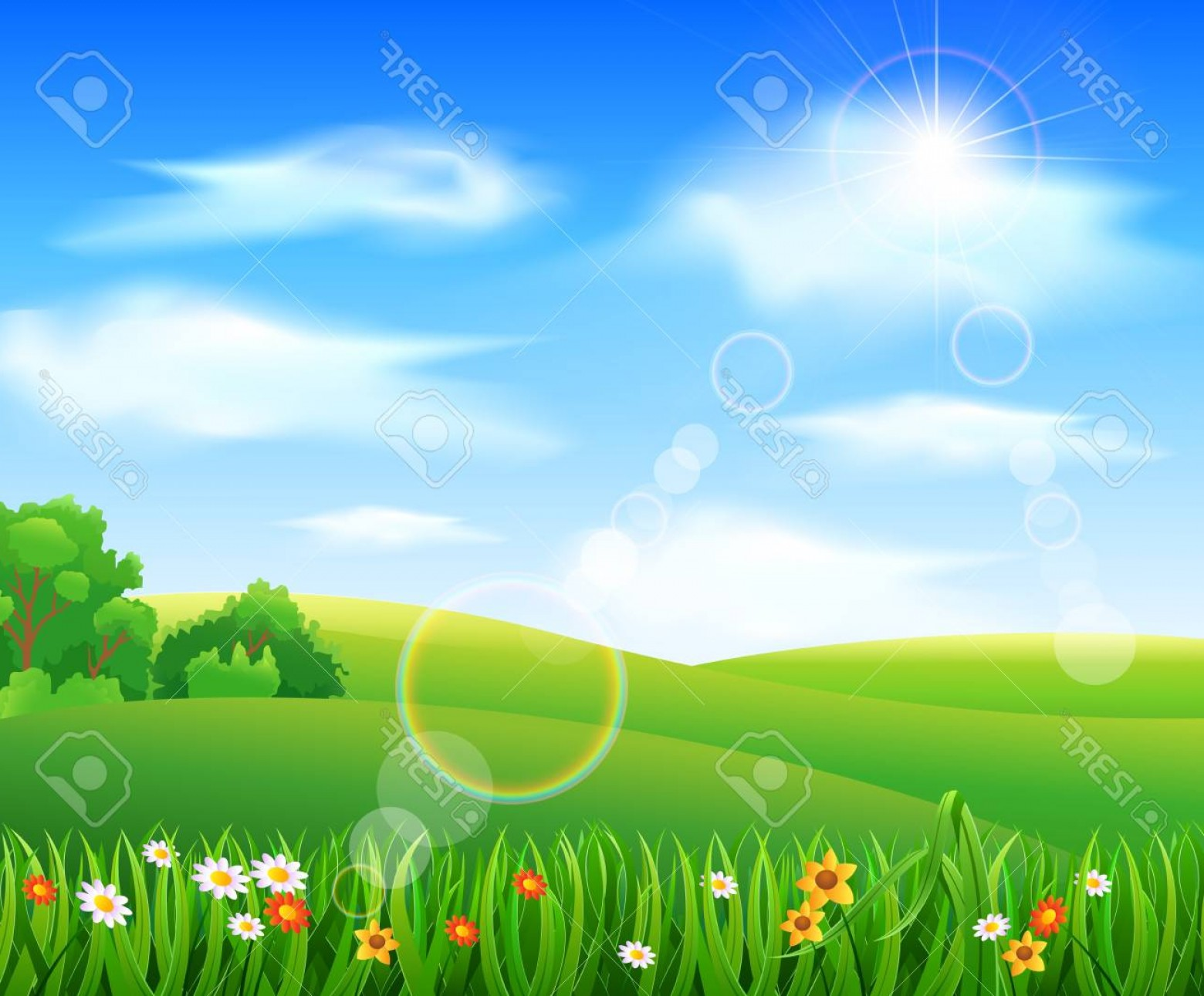 Vector Natural Background Sky: Photostock Vector Nature Background With Green Grass And Flowers And Blue Sky