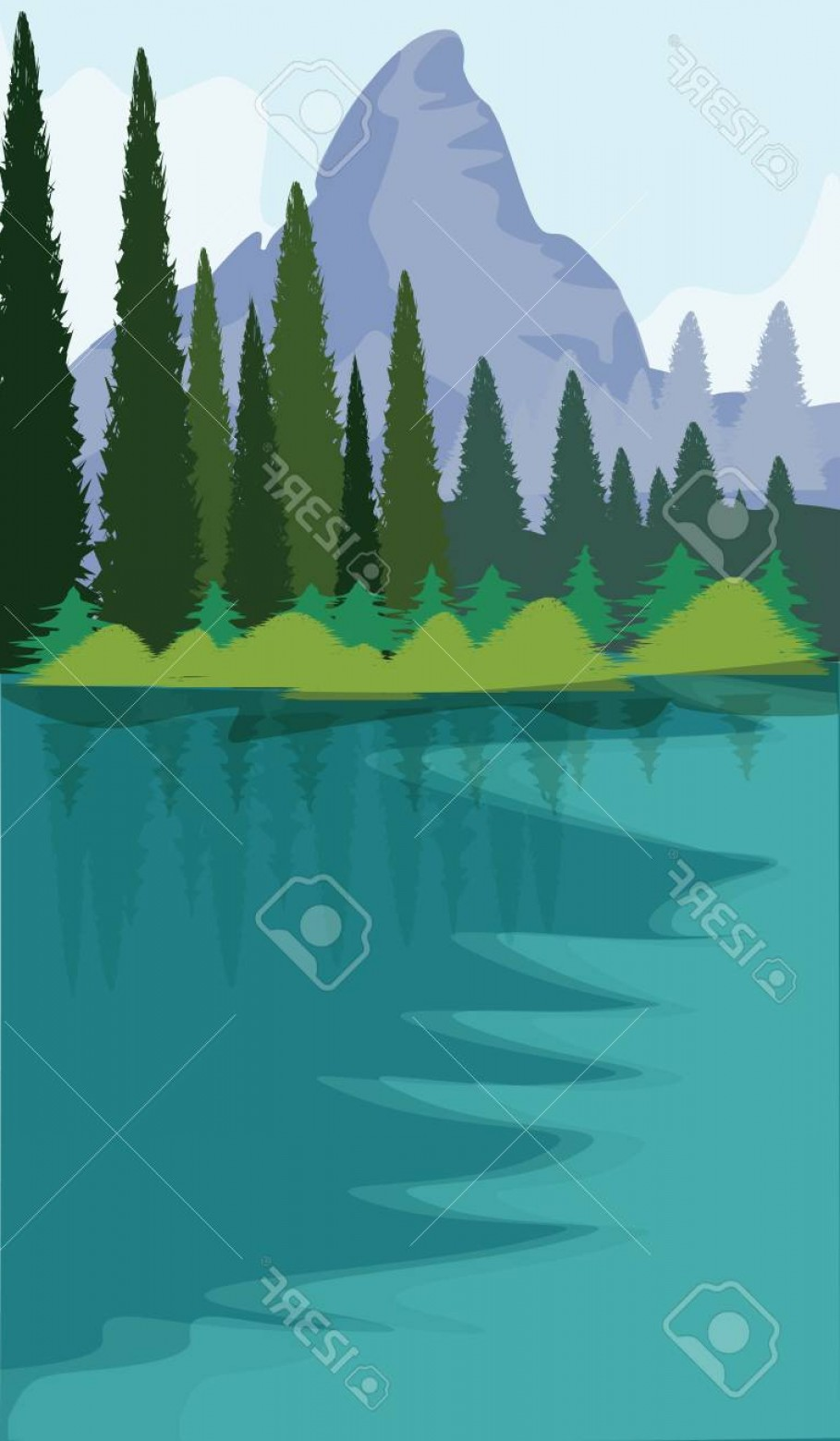 River Vector Art: Photostock Vector Nature Mountains And Fir Forest River Flat Style Vector Art Illustration Travel Poster