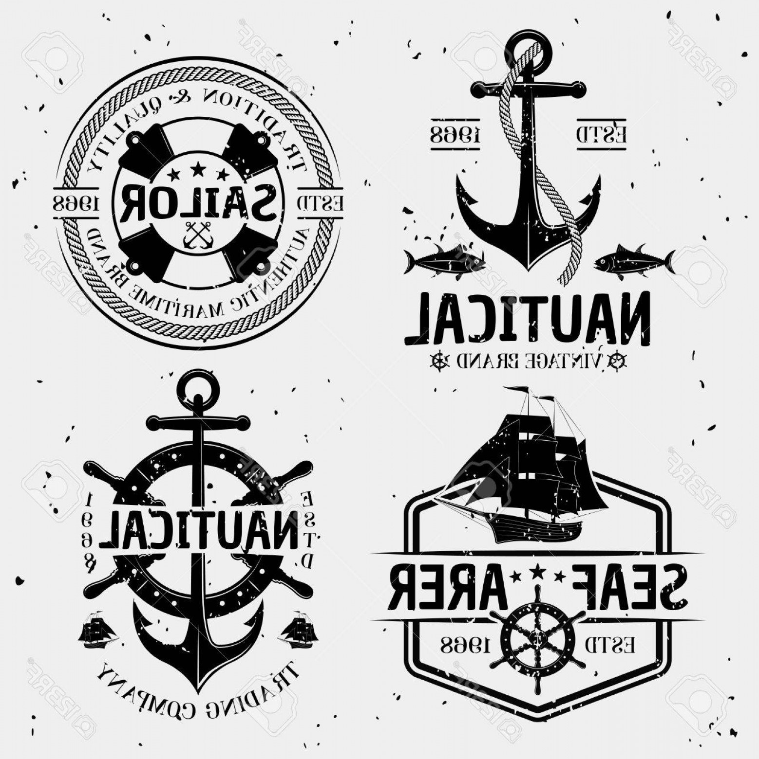 Nautical Star Vector Logo: Photostock Vector Nautical Monochrome Logos With Marine Symbols And Letterings On White Background With Tiny Stains Is
