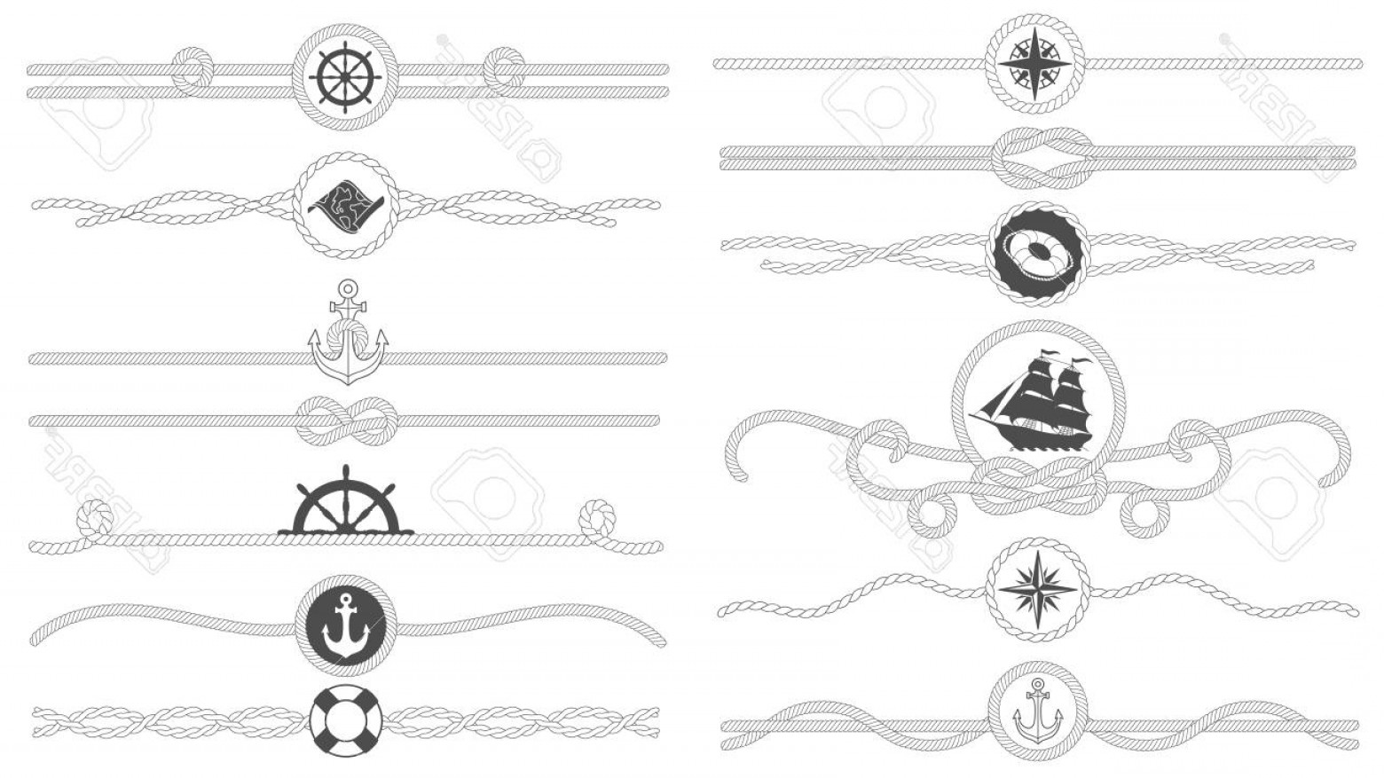 Nautical Text Divider Vector: Photostock Vector Nautical Rope Border Nautical Tied Ropes Line Sea Ship Anchor Divider And Retro Marine Decor Borders