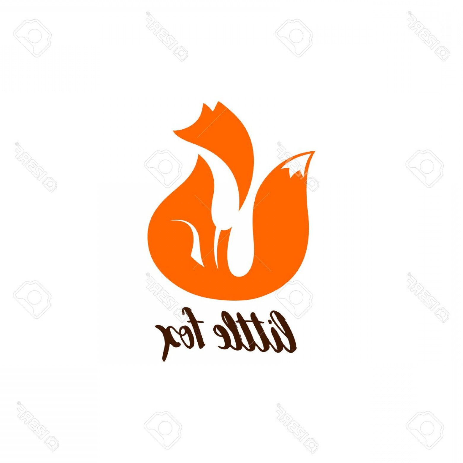 Sitting Fox Logo Vector: Photostock Vector Negative Space Logo With Sitting Fox Orange Fox Silhouette Fox Icon Fox Symbol Fox Sign Isolated On