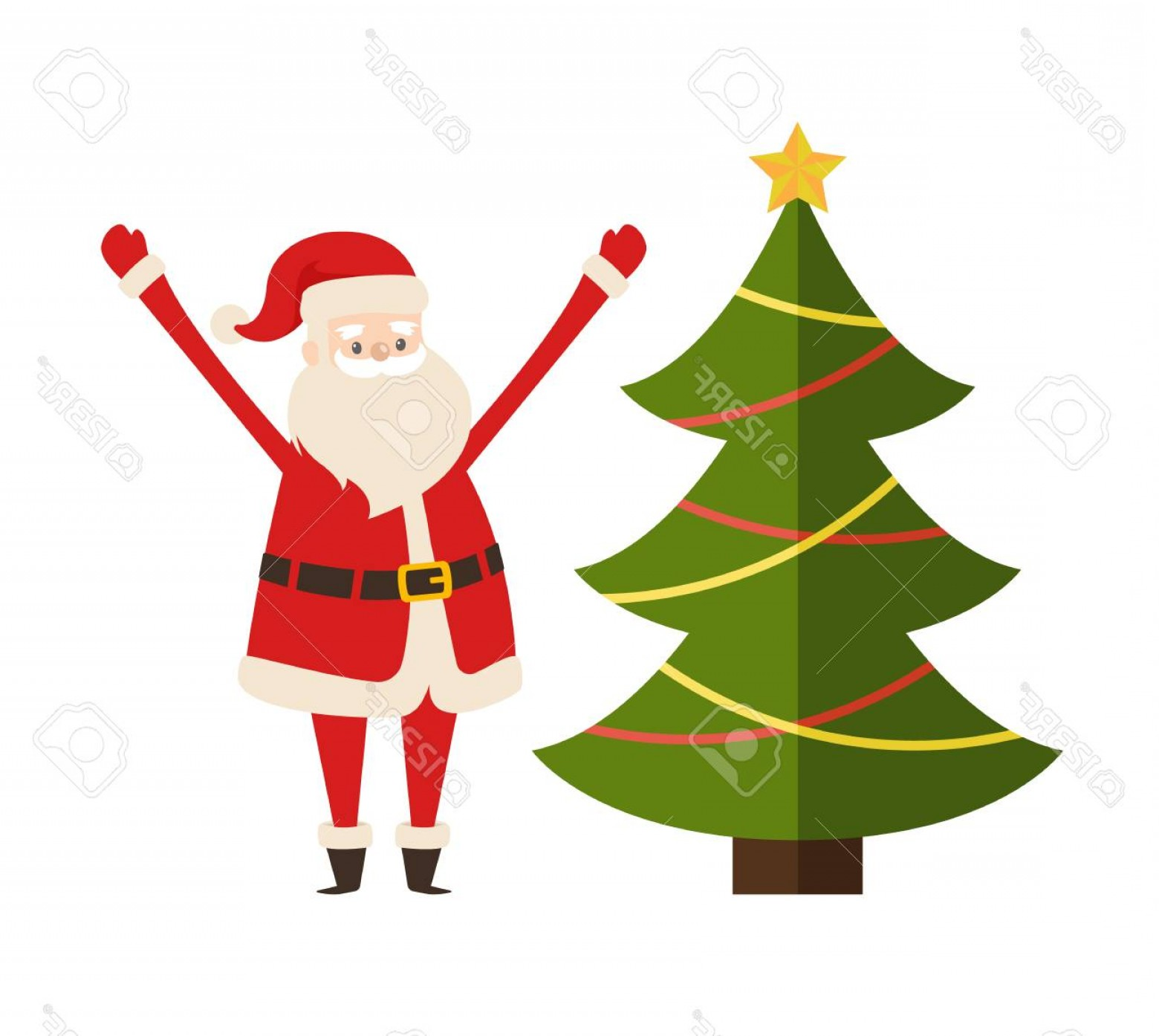 Santa Claus Vector Illustration: Photostock Vector New Year Tree And Santa Claus Vector Illustration Poster With Decorated Spruce Fir And Saint Nichola