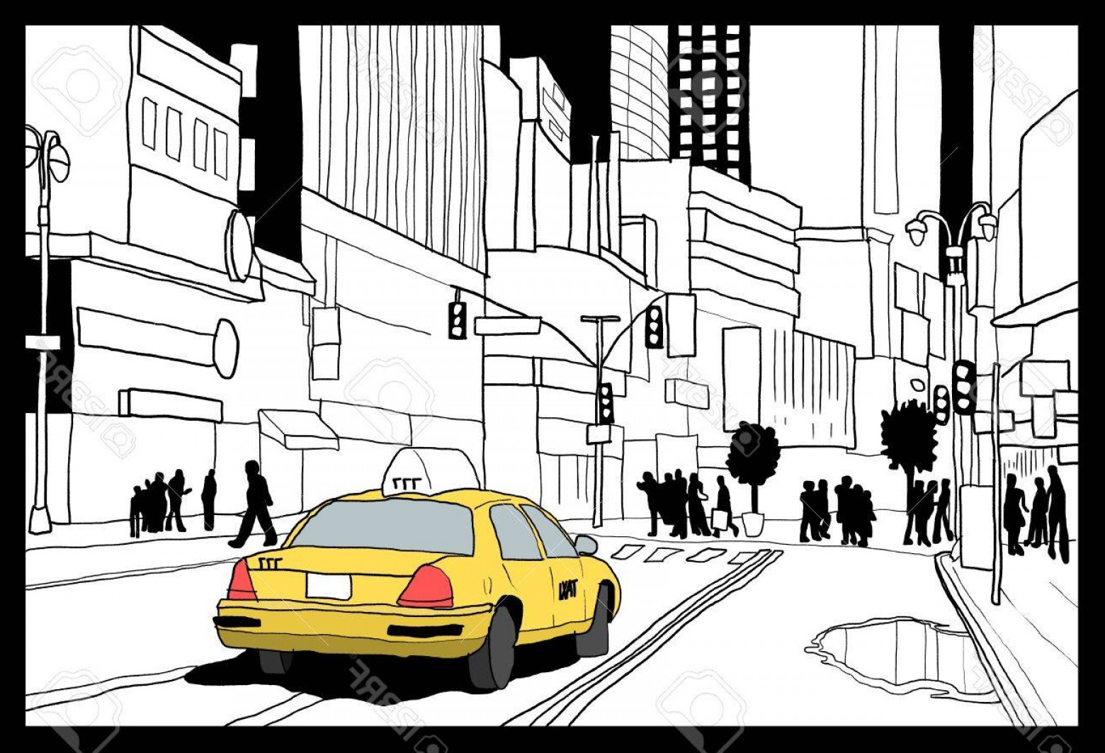 New York Taxi Cab Vector: Photostock Vector New York City Taxi Cab Times Square Illustration