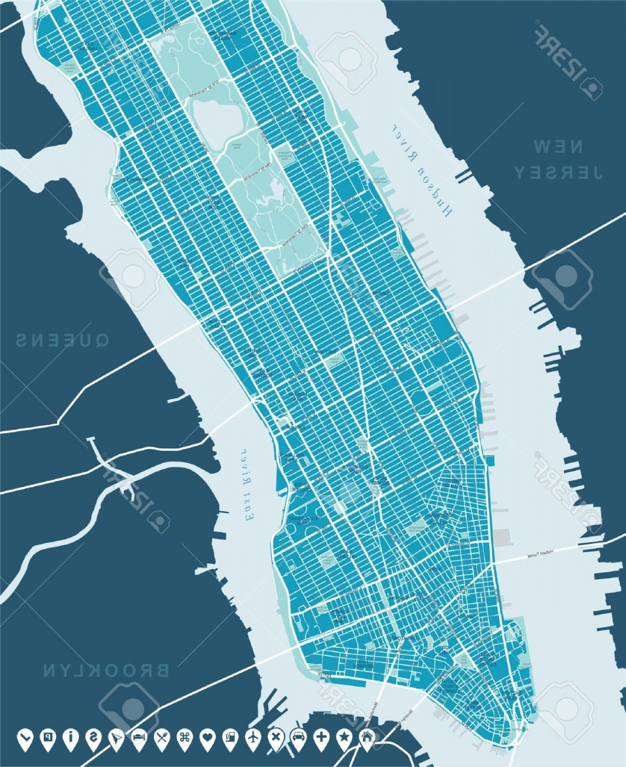 Midtown East Map Vector: Photostock Vector New York Map Lower And Mid Manhattan