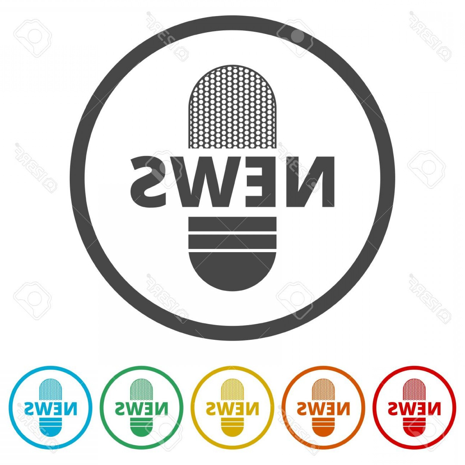 News Microphone Icon Vector: Photostock Vector News Microphone Icon Vector News Microphone Icon Colors Included